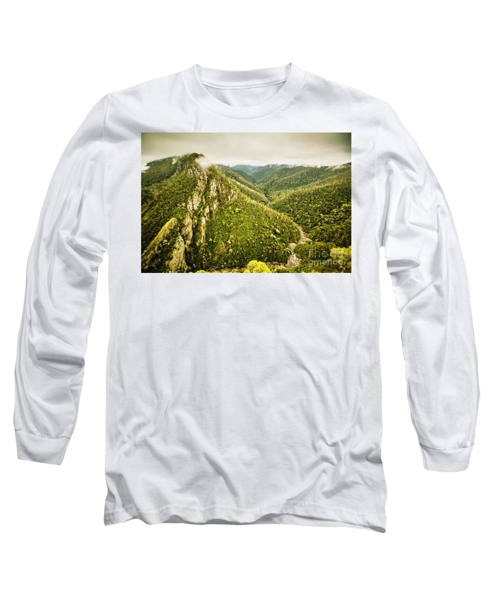 Nature Long Sleeve T-Shirt featuring the photograph Leven Canyon Reserve Tasmania by Jorgo Photography - Wall Art Gallery