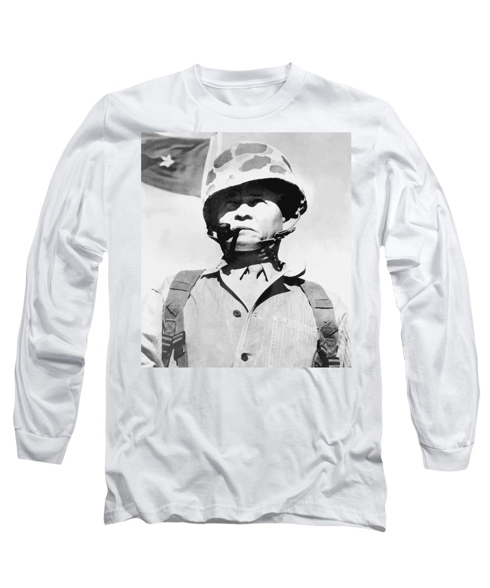 Chesty Puller Long Sleeve T-Shirt featuring the painting Lewis Chesty Puller by War Is Hell Store