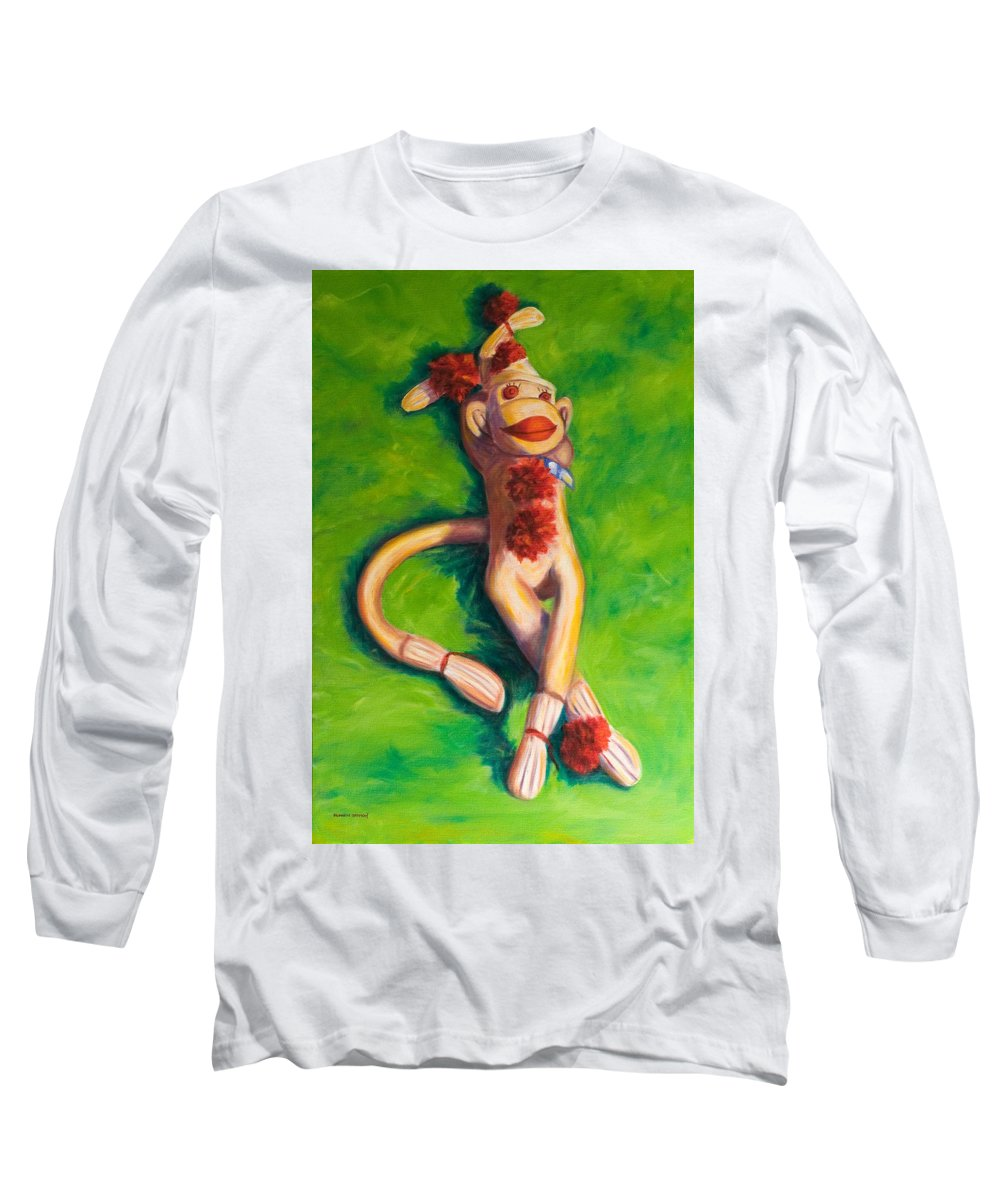 Sock Monkey Long Sleeve T-Shirt featuring the painting Life Is Good by Shannon Grissom