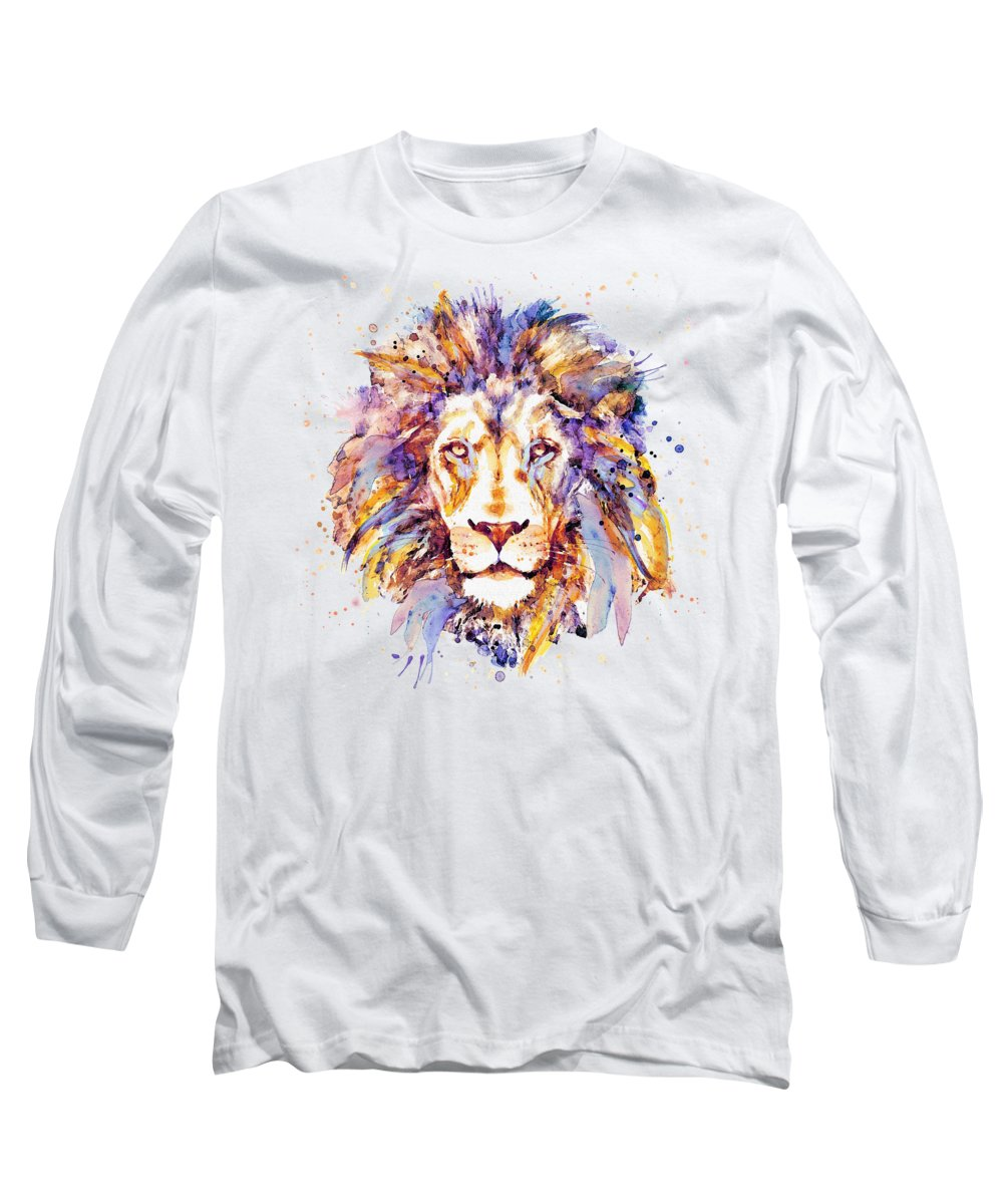 Lion Long Sleeve T-Shirt featuring the painting Lion Head by Marian Voicu
