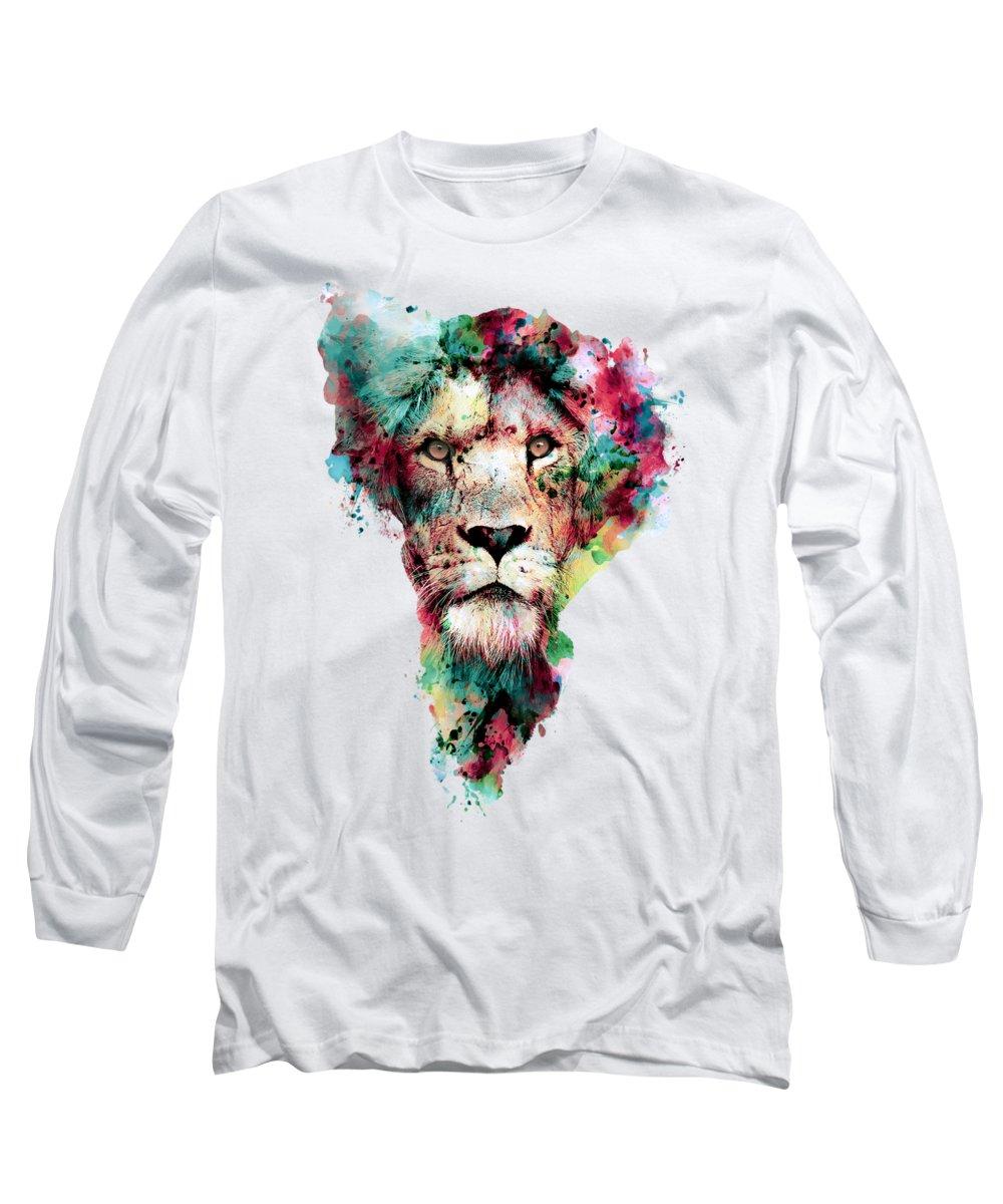 Lion Long Sleeve T-Shirt featuring the digital art Lion by Riza Peker