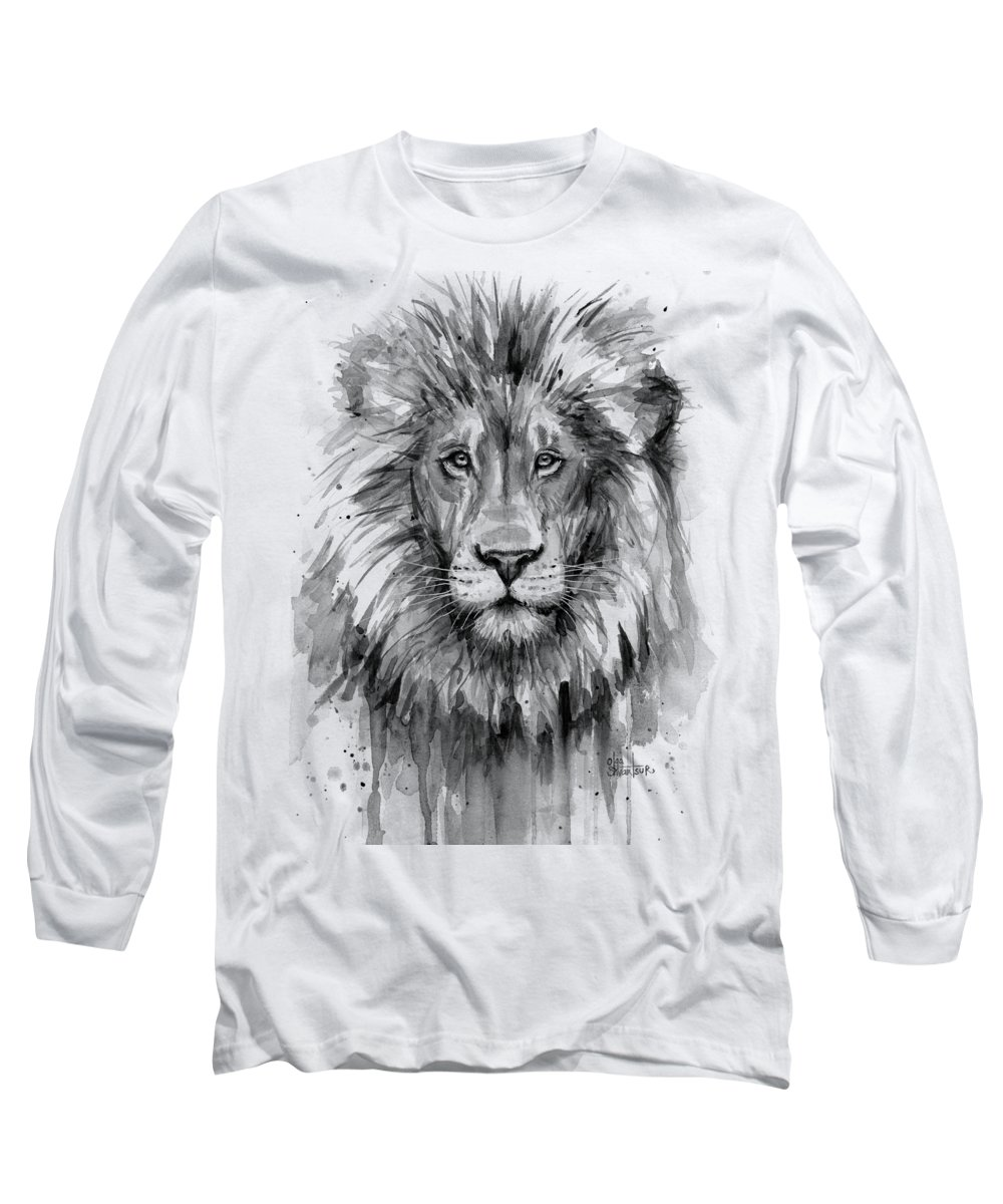 Lion Long Sleeve T-Shirt featuring the painting Lion Watercolor by Olga Shvartsur