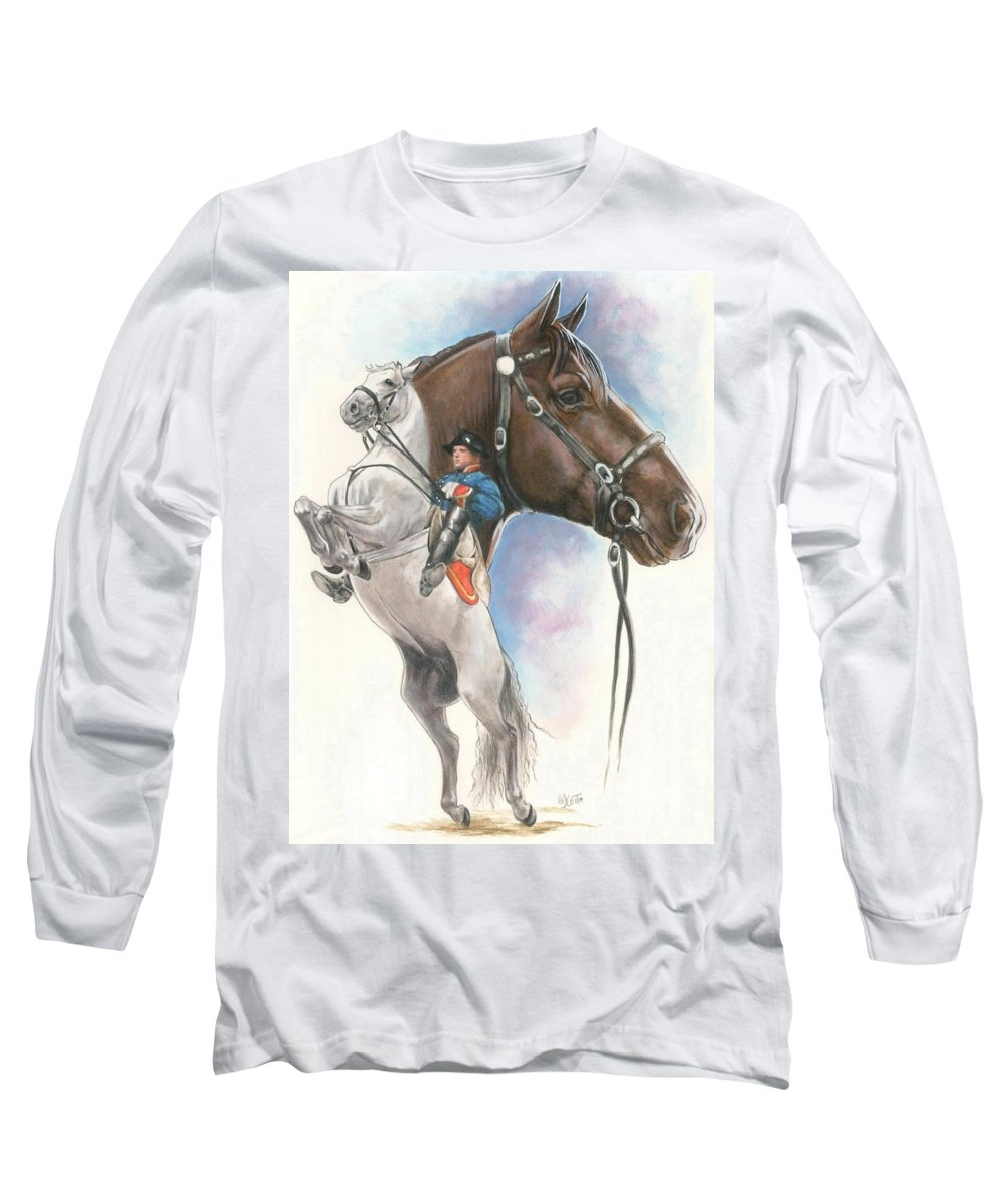 Spanish Riding School Long Sleeve T-Shirt featuring the mixed media Lippizaner by Barbara Keith