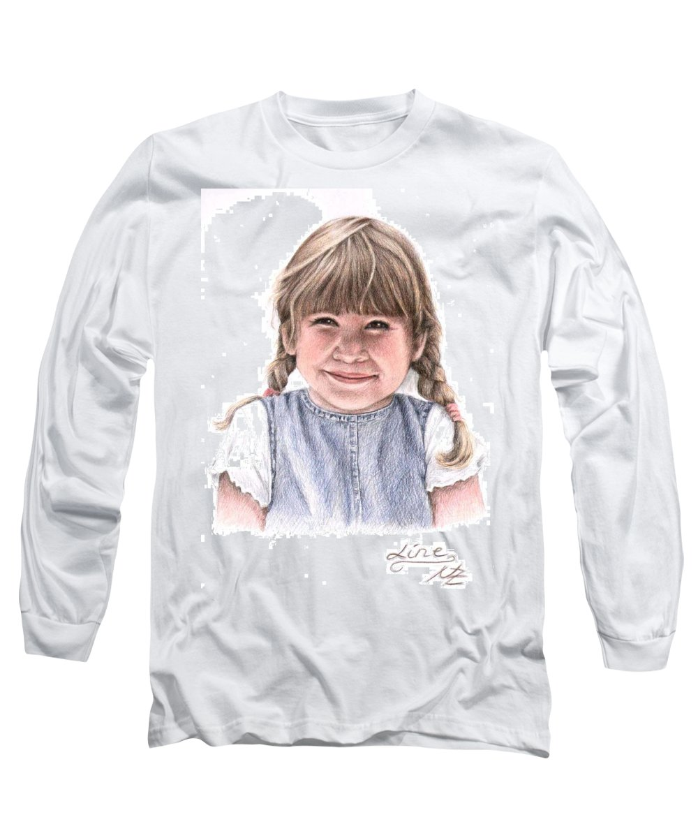 Girl Long Sleeve T-Shirt featuring the drawing Little Girl by Nicole Zeug
