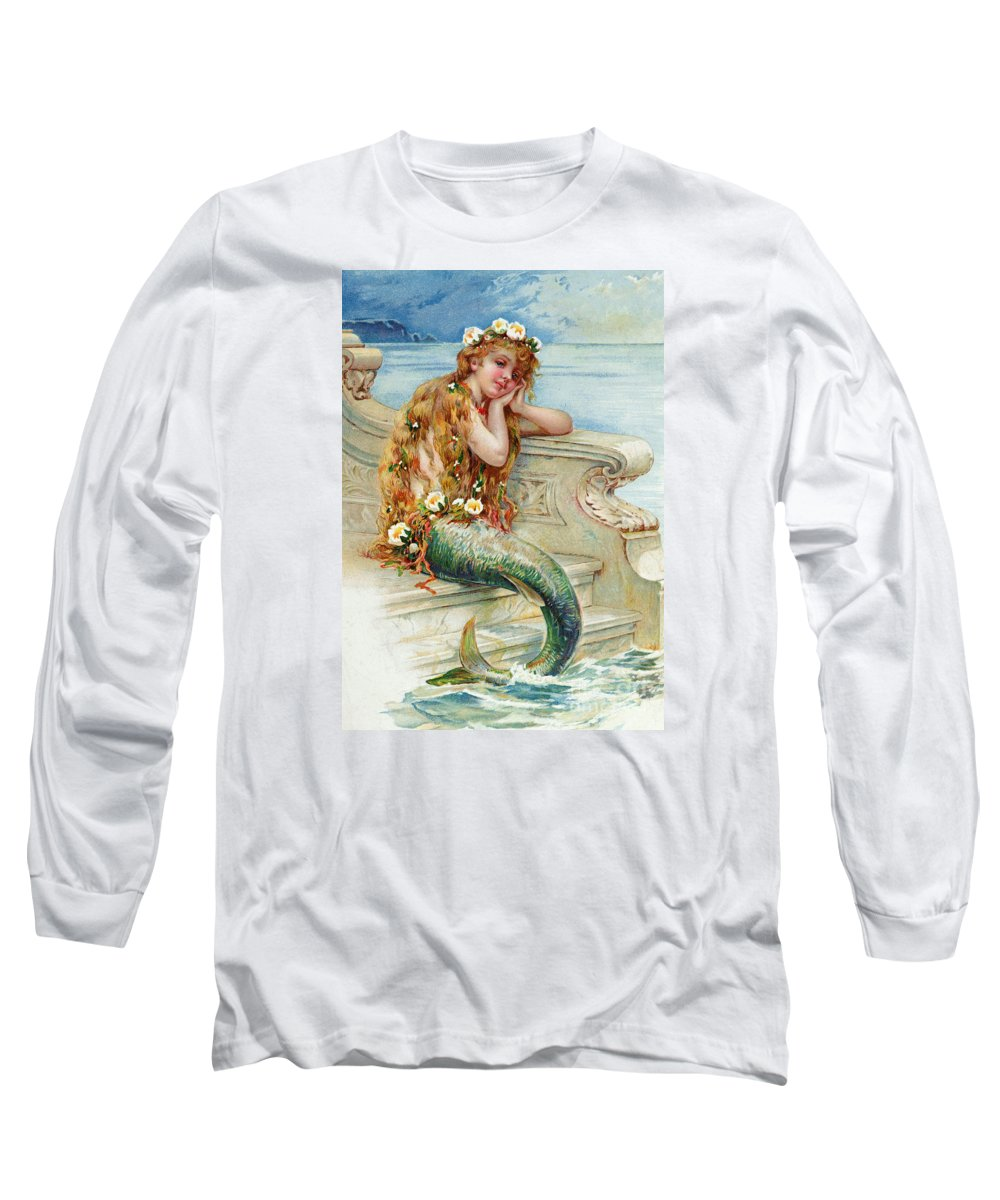Mermaid Long Sleeve T-Shirt featuring the painting Little Mermaid by E S Hardy