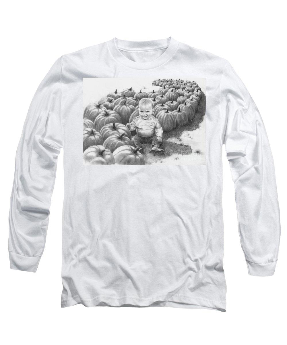 Charity Long Sleeve T-Shirt featuring the drawing Little Pumpkin by Murphy Elliott