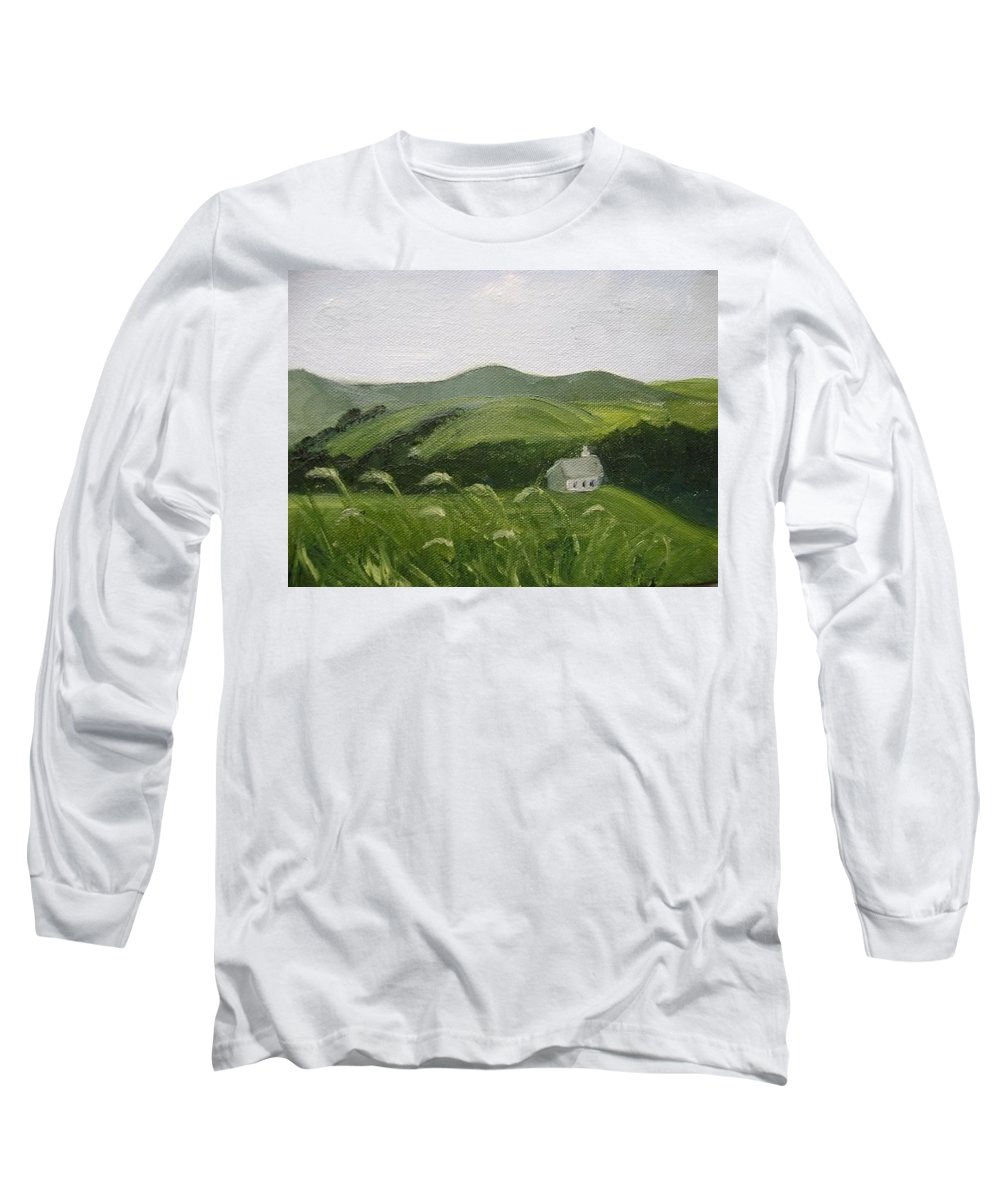 Landscape Long Sleeve T-Shirt featuring the painting Little Schoolhouse On The Hill by Toni Berry