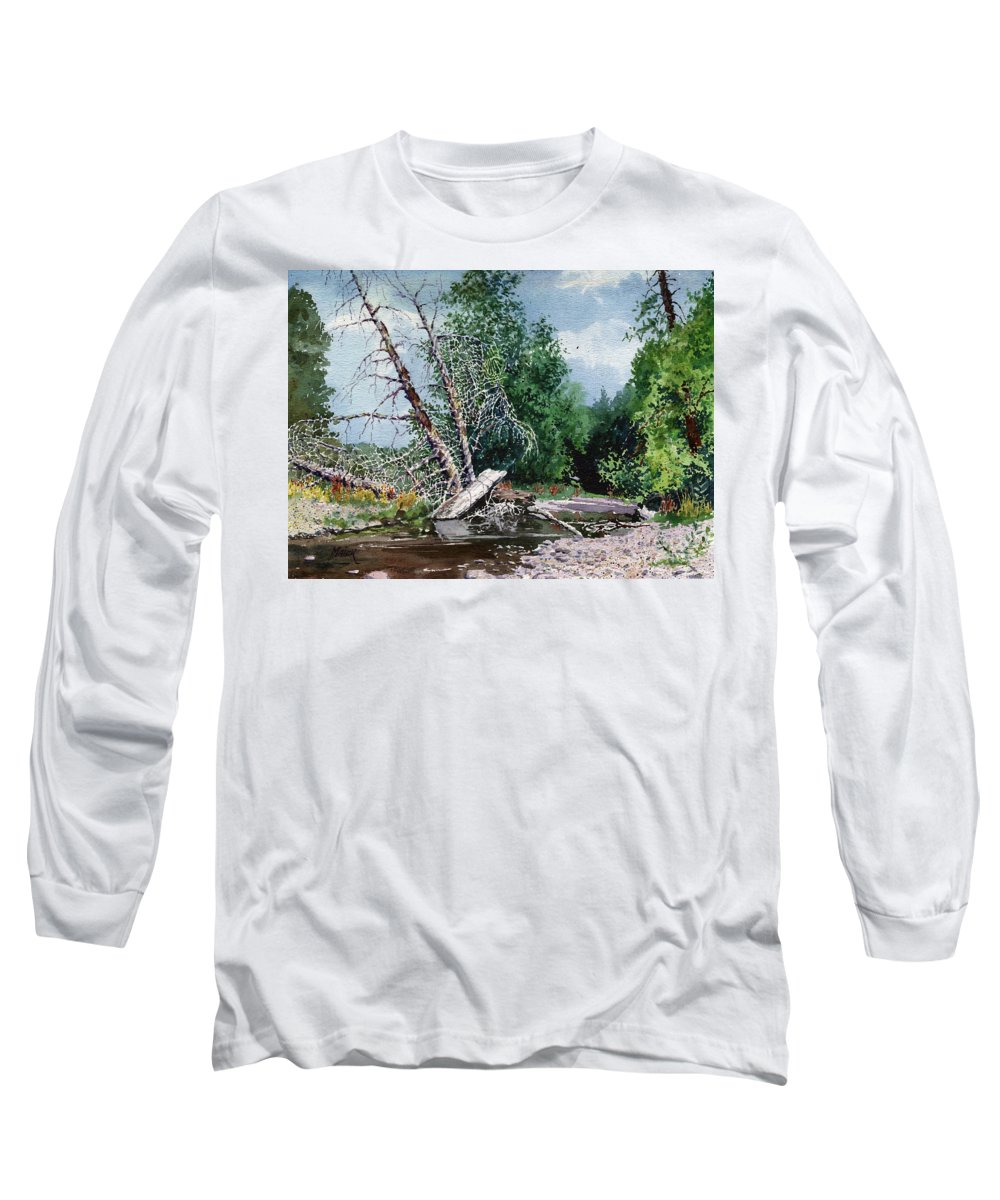 Washington State Long Sleeve T-Shirt featuring the painting Log Jam by Donald Maier