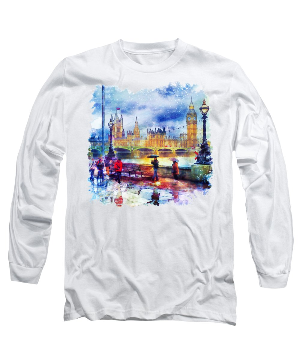 London Long Sleeve T-Shirt featuring the painting London Rain Watercolor by Marian Voicu
