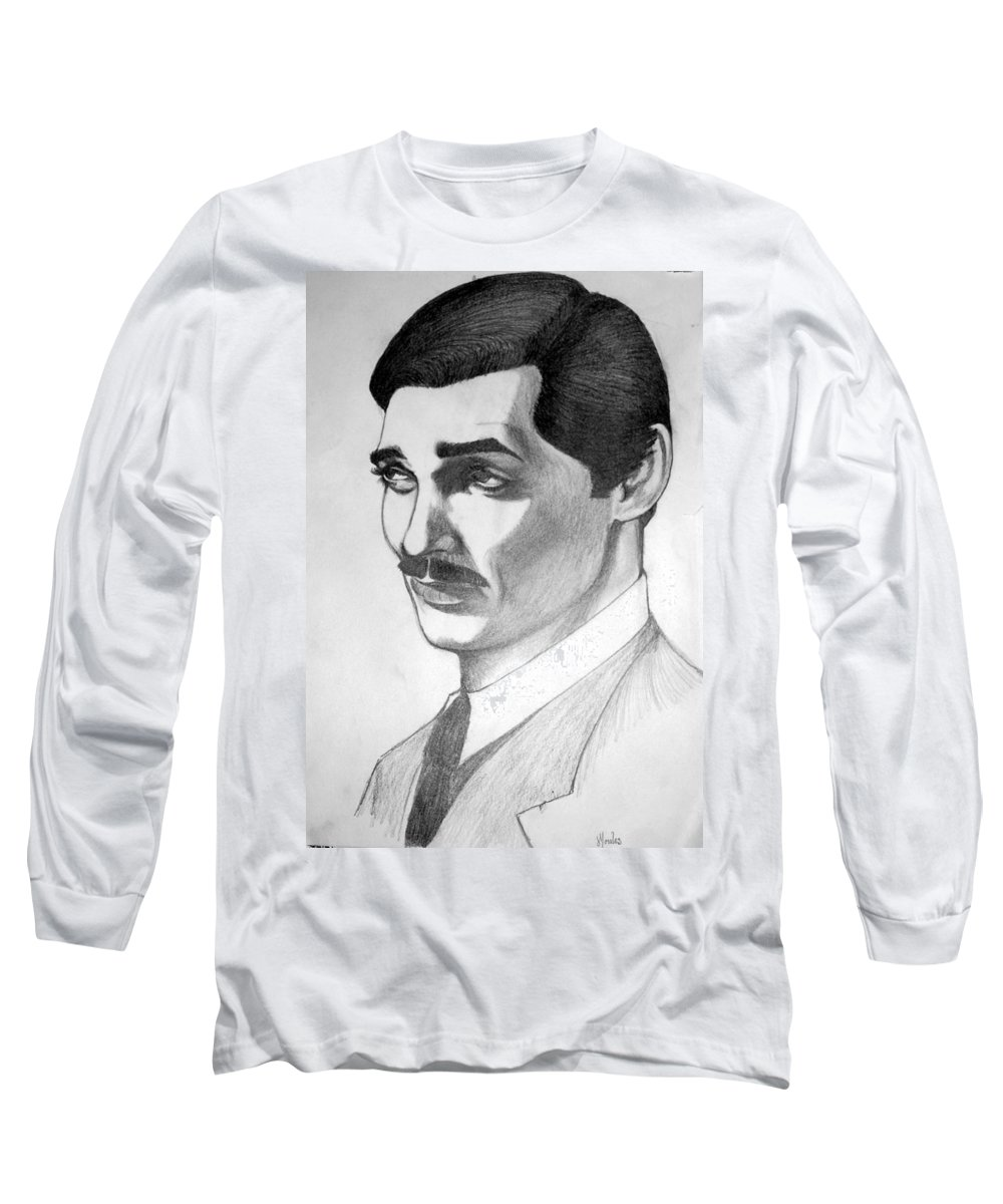 Portrait Long Sleeve T-Shirt featuring the drawing Long Live The King by Marco Morales