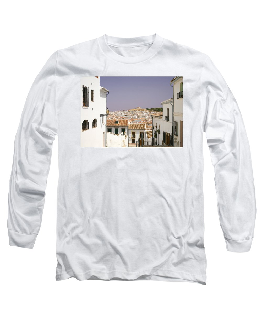 Antequera Long Sleeve T-Shirt featuring the photograph Looking Down Over Antequera From Near The Church Of Santa Maria La Mayor by Mal Bray