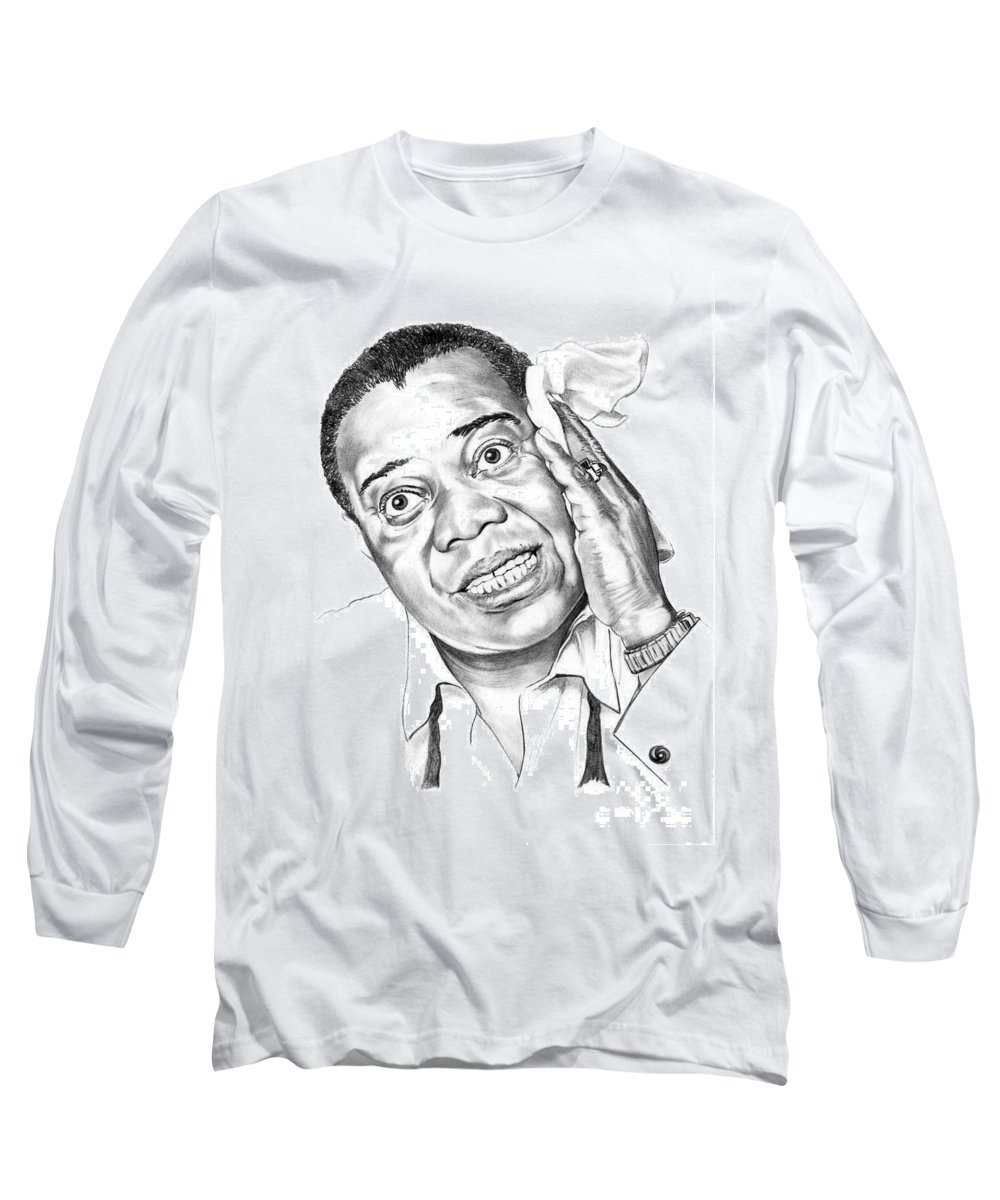 Music Long Sleeve T-Shirt featuring the drawing Louis Satchmo Armstrong by Murphy Elliott