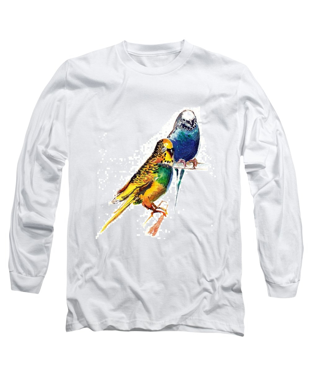 Nature Long Sleeve T-Shirt featuring the painting Love Birds by Anil Nene