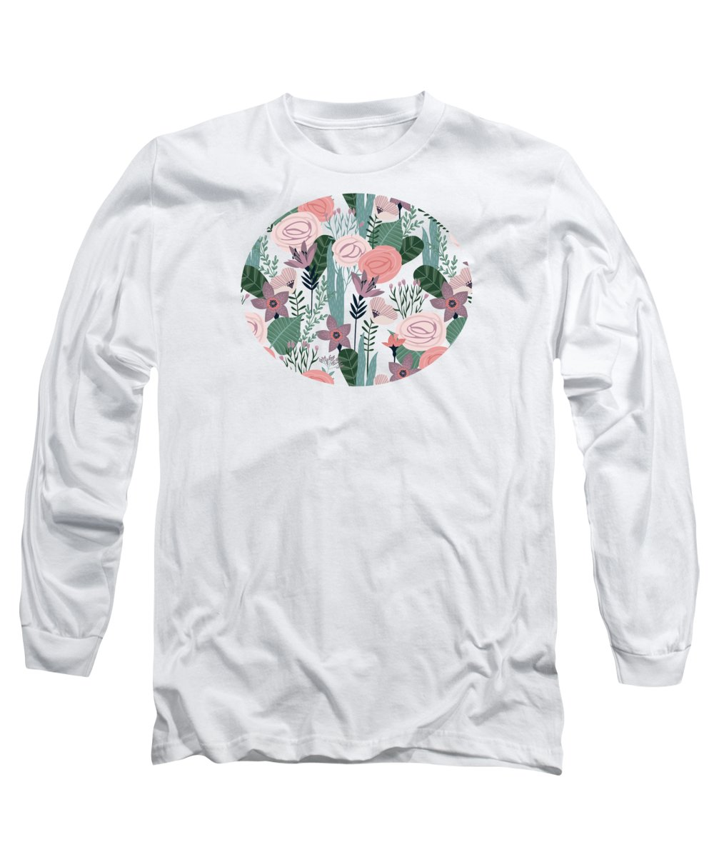 Pattern Long Sleeve T-Shirt featuring the painting Lovely Mid Century Rose Garden Flower Pattern by Little Bunny Sunshine