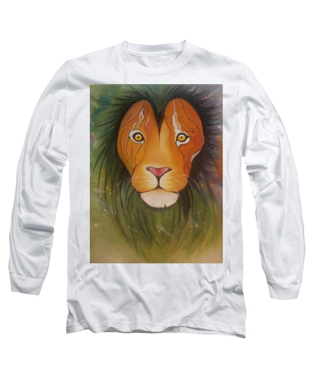 #lion #oilpainting #animal #colorful Long Sleeve T-Shirt featuring the painting LovelyLion by Anne Sue