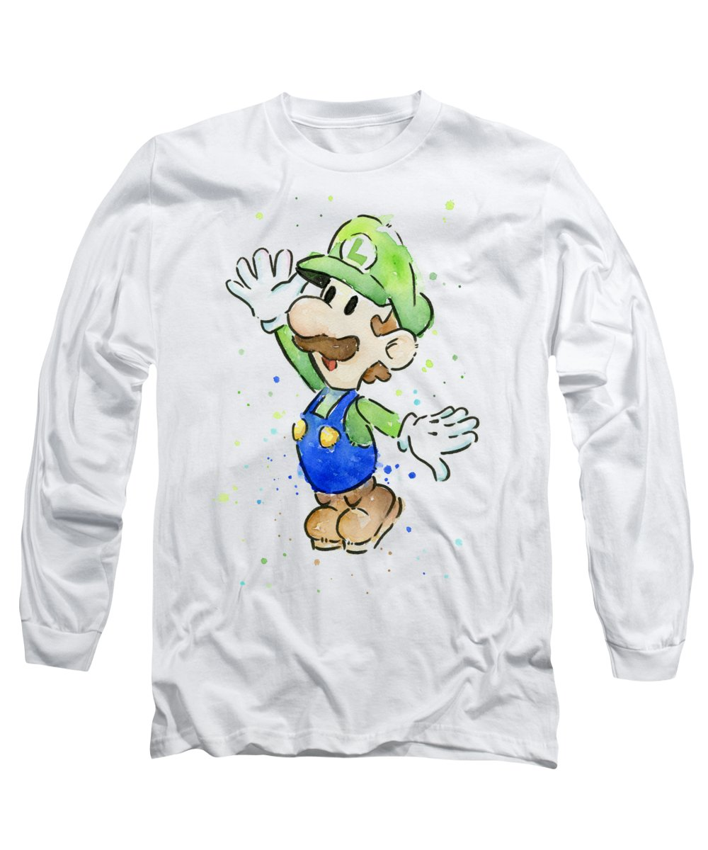 Luigi Long Sleeve T-Shirt featuring the painting Luigi Watercolor by Olga Shvartsur