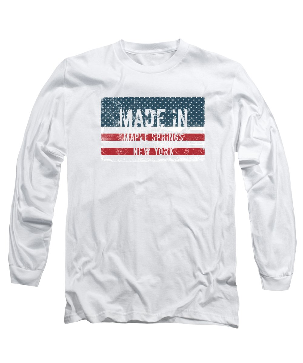 Maple Springs Long Sleeve T-Shirt featuring the digital art Made In Maple Springs, New York by Tinto Designs