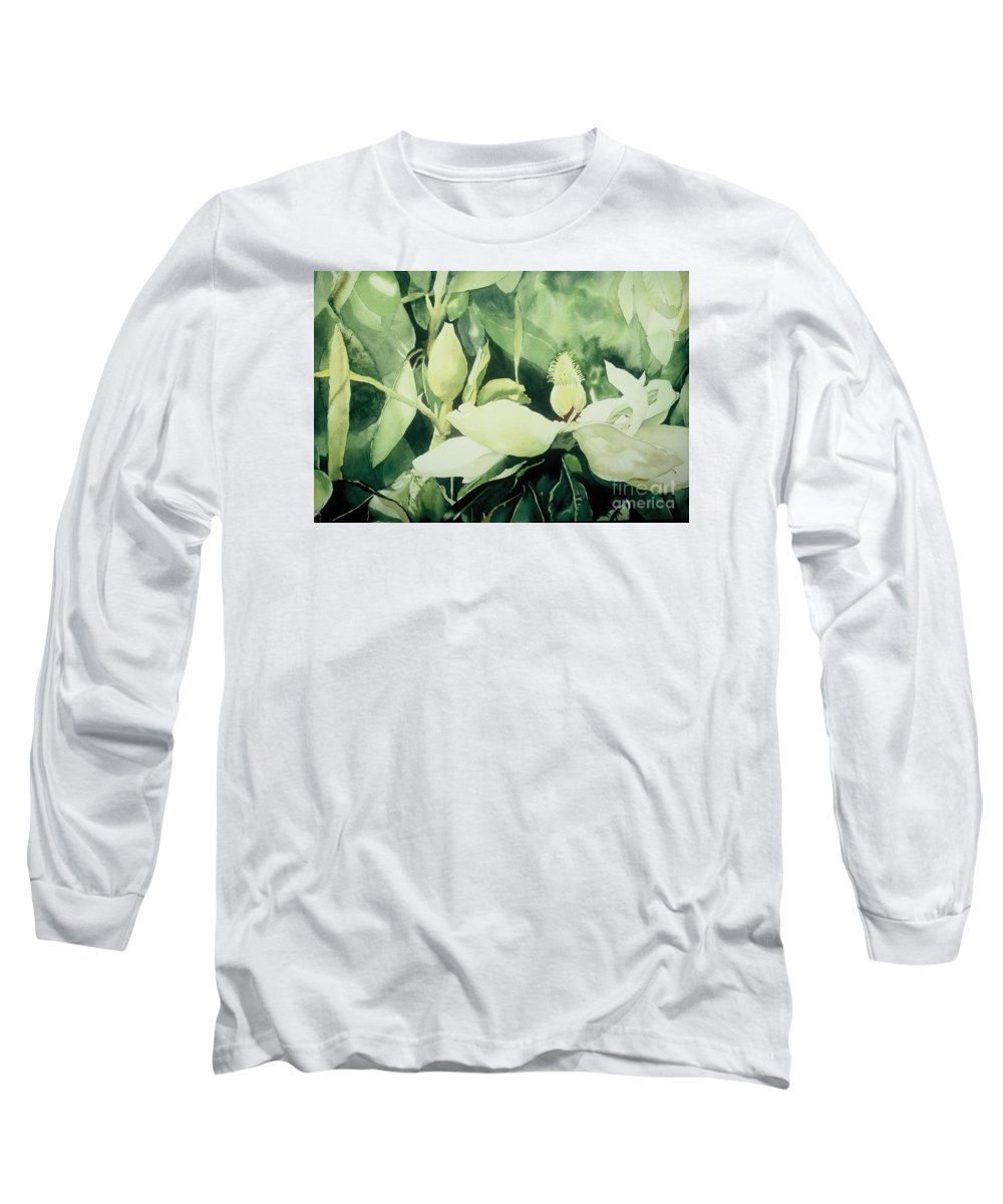 Magnolias Long Sleeve T-Shirt featuring the painting Magnolium Opus by Elizabeth Carr