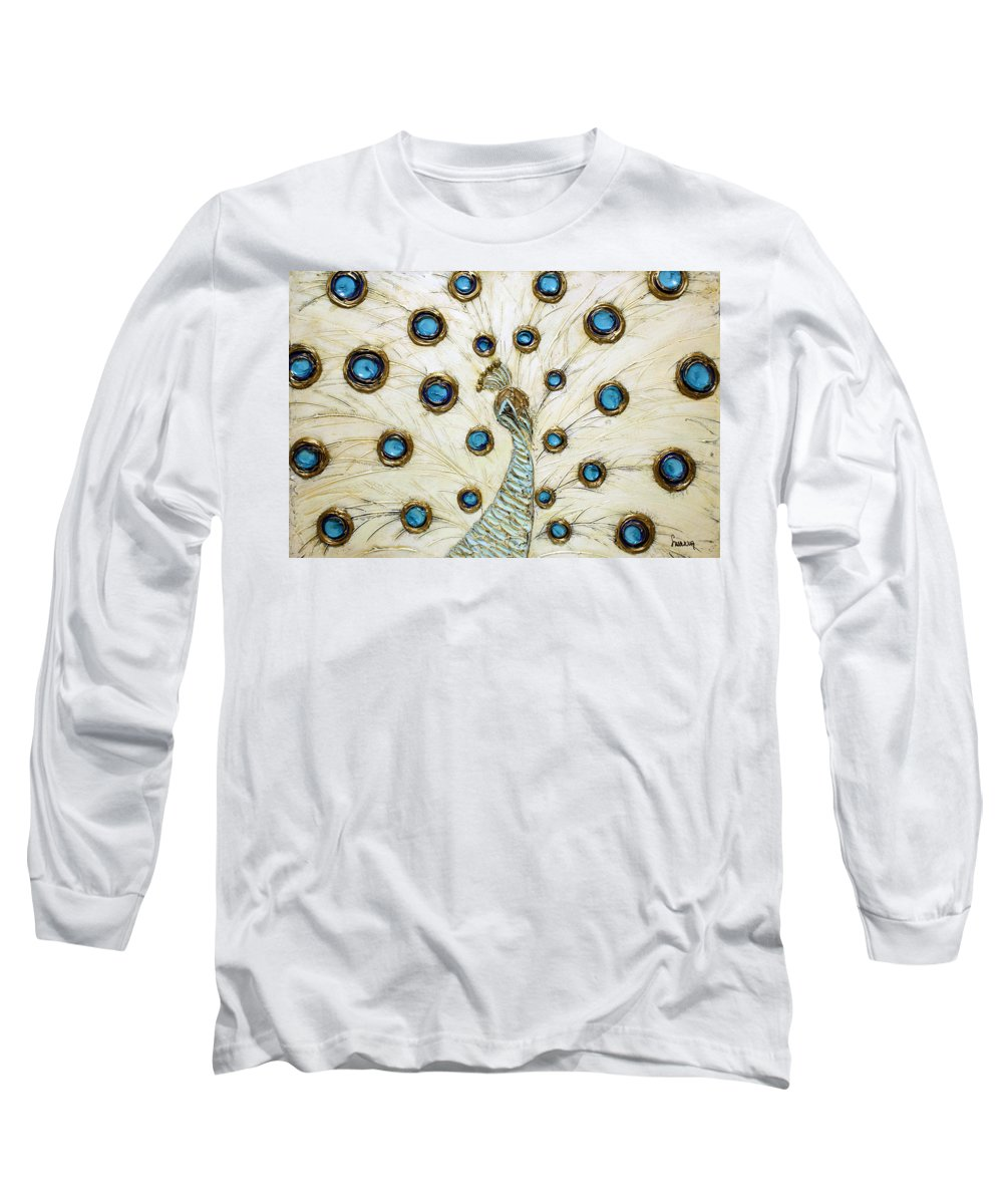 Peacock Long Sleeve T-Shirt featuring the painting Majestic by Susanna Shaposhnikova