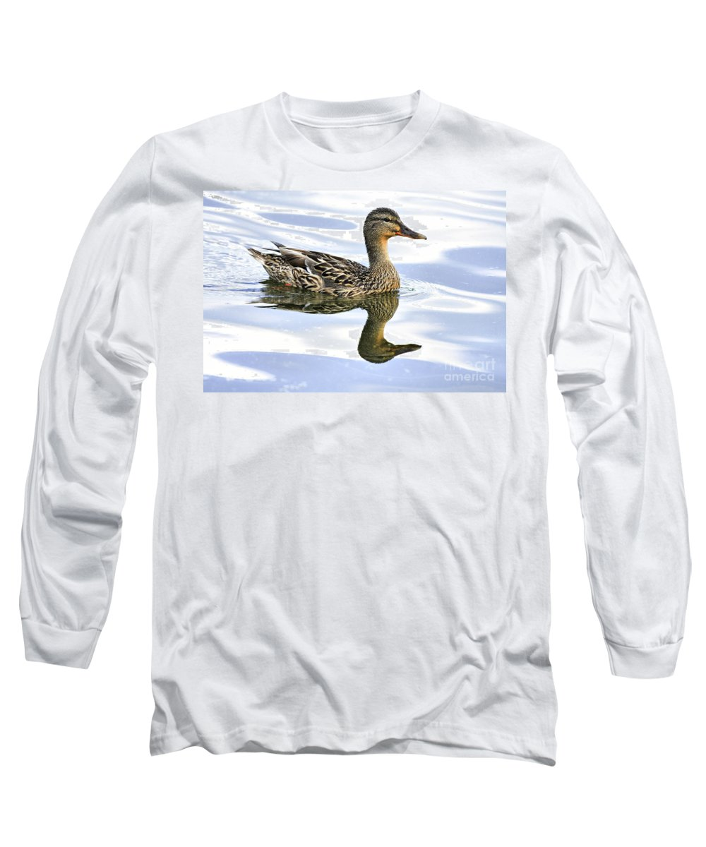 Bird Long Sleeve T-Shirt featuring the photograph Mallard Reflections by Deborah Benoit