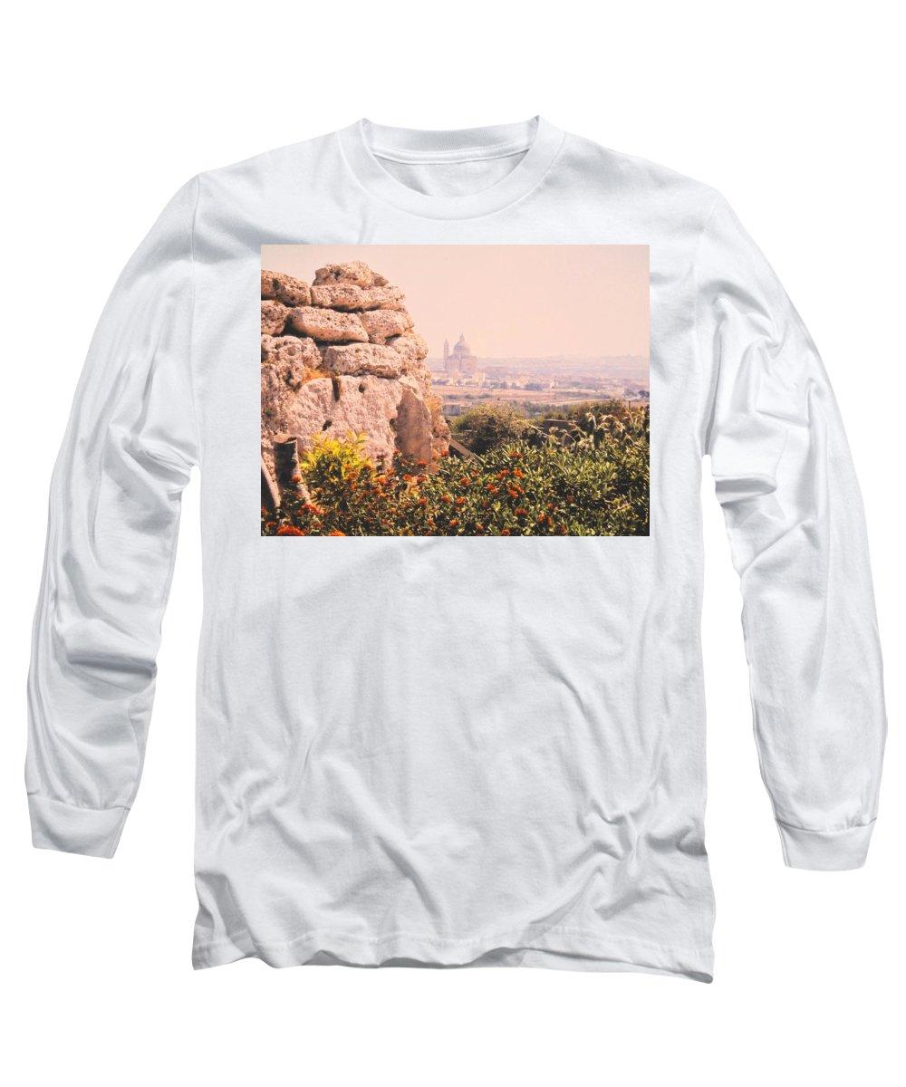 Malta Long Sleeve T-Shirt featuring the photograph Malta Wall by Ian MacDonald