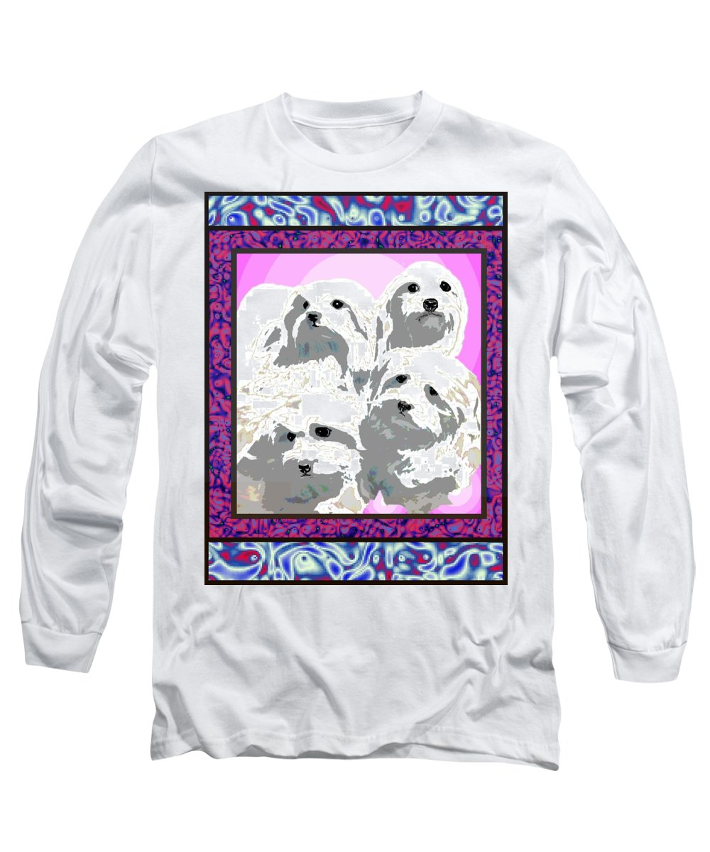 Maltese Group Long Sleeve T-Shirt featuring the digital art Maltese Group by Kathleen Sepulveda