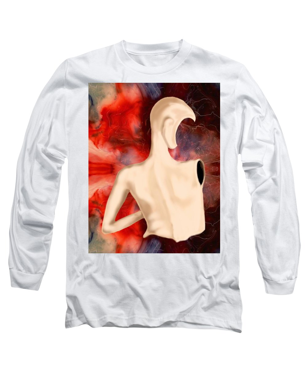 Woman Fashion Naked Surreal Abstract Long Sleeve T-Shirt featuring the digital art Manequin by Veronica Jackson