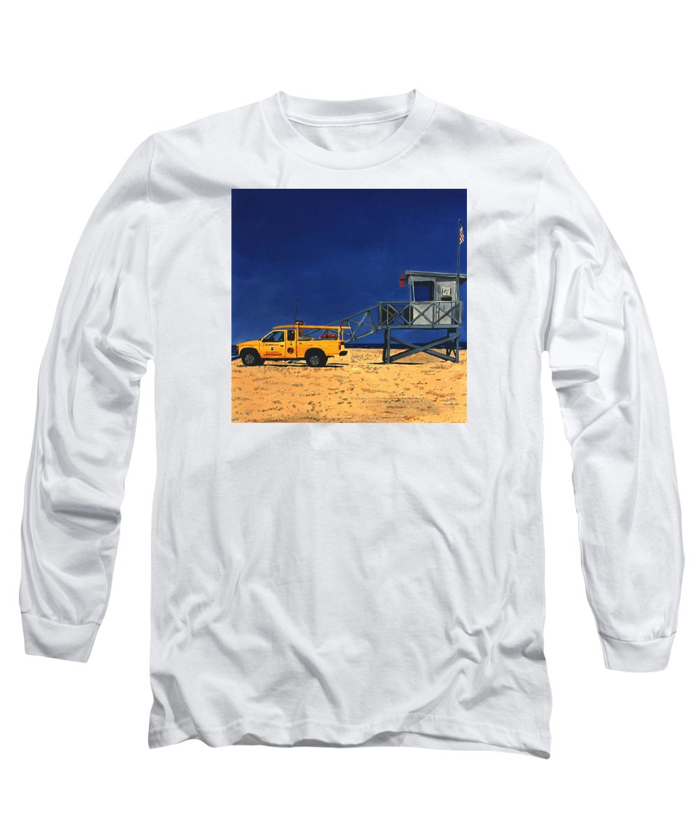 Modern Long Sleeve T-Shirt featuring the painting Manhattan Beach Lifeguard Station Side by Lance Headlee
