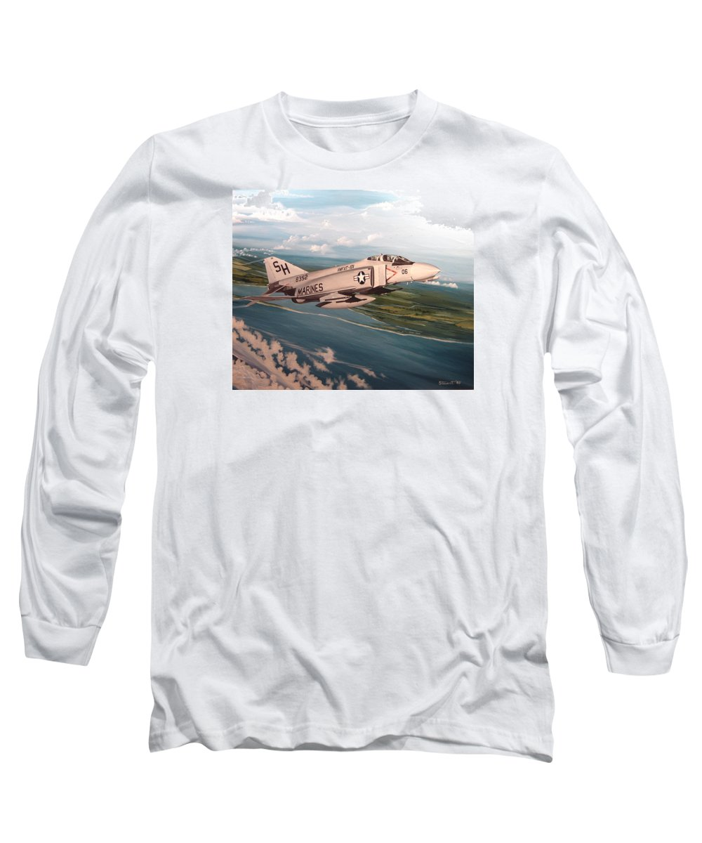Aviation Long Sleeve T-Shirt featuring the painting Marine Phantom by Marc Stewart