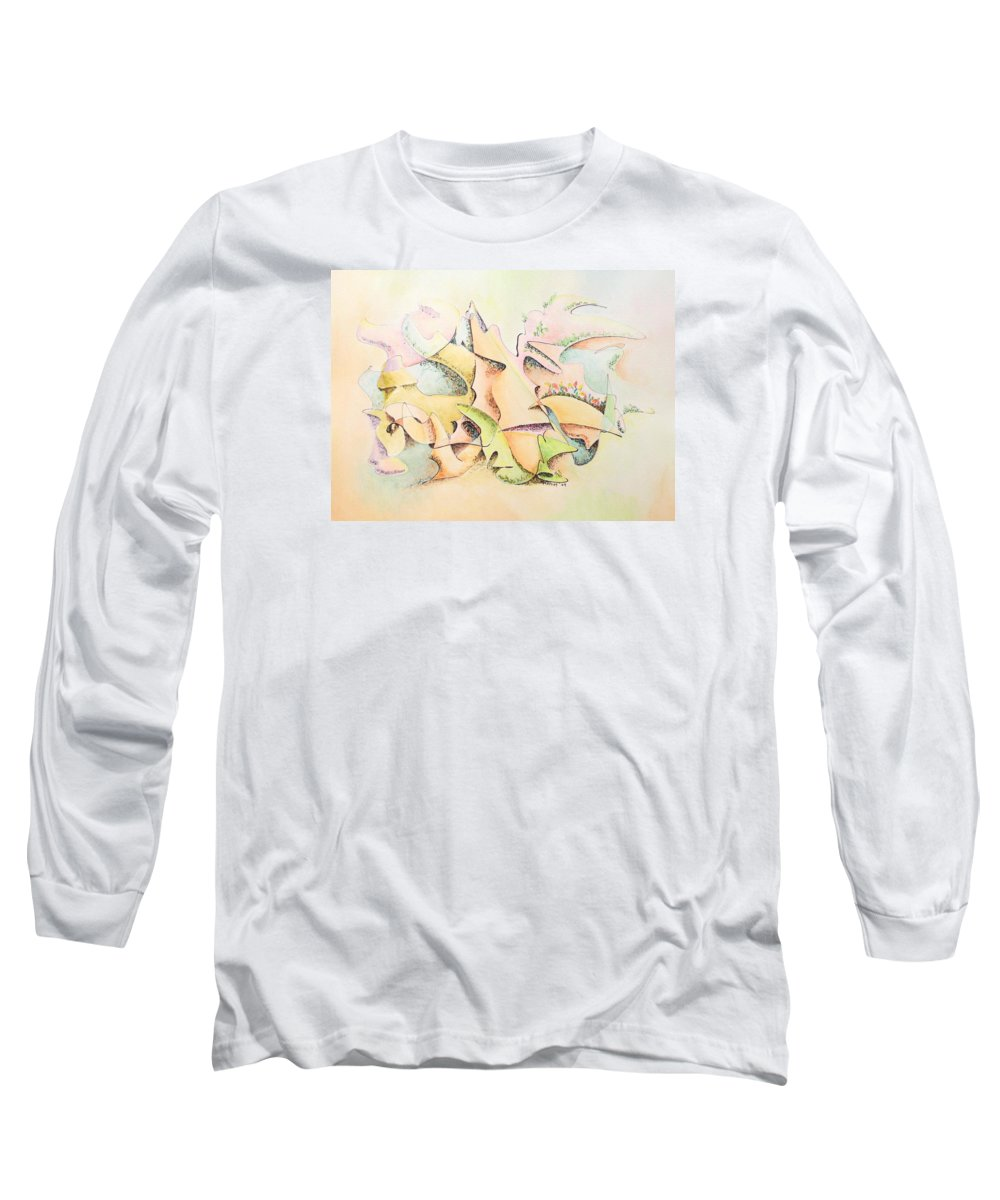 Watercolor Long Sleeve T-Shirt featuring the painting Mask by Dave Martsolf
