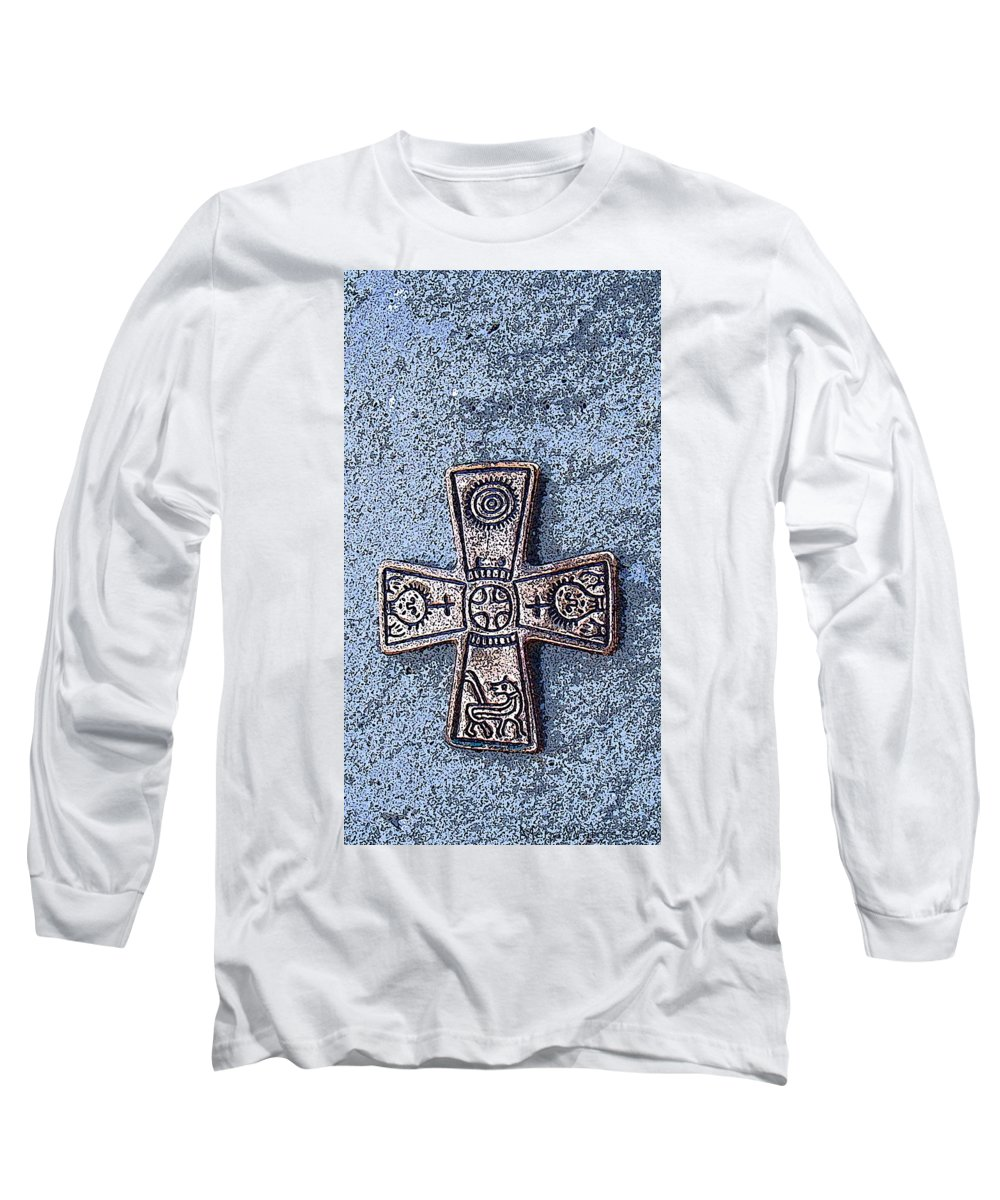 Cross Long Sleeve T-Shirt featuring the photograph Medieval Nordic Cross by Merja Waters