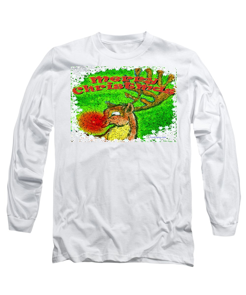 Merry Christmas Long Sleeve T-Shirt featuring the greeting card Merry Christmas Reindeer by Kevin Middleton