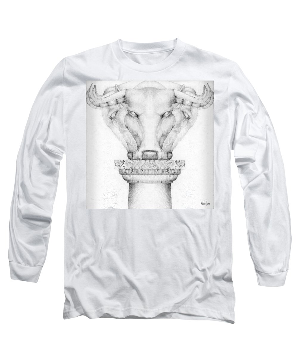 Bull Long Sleeve T-Shirt featuring the drawing Mesopotamian Capital by Curtiss Shaffer