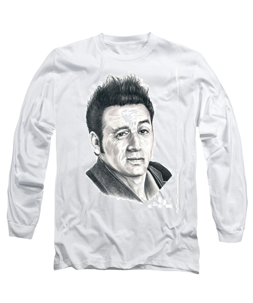 Pencil Long Sleeve T-Shirt featuring the drawing Michael Richards Cosmo Kramer by Murphy Elliott
