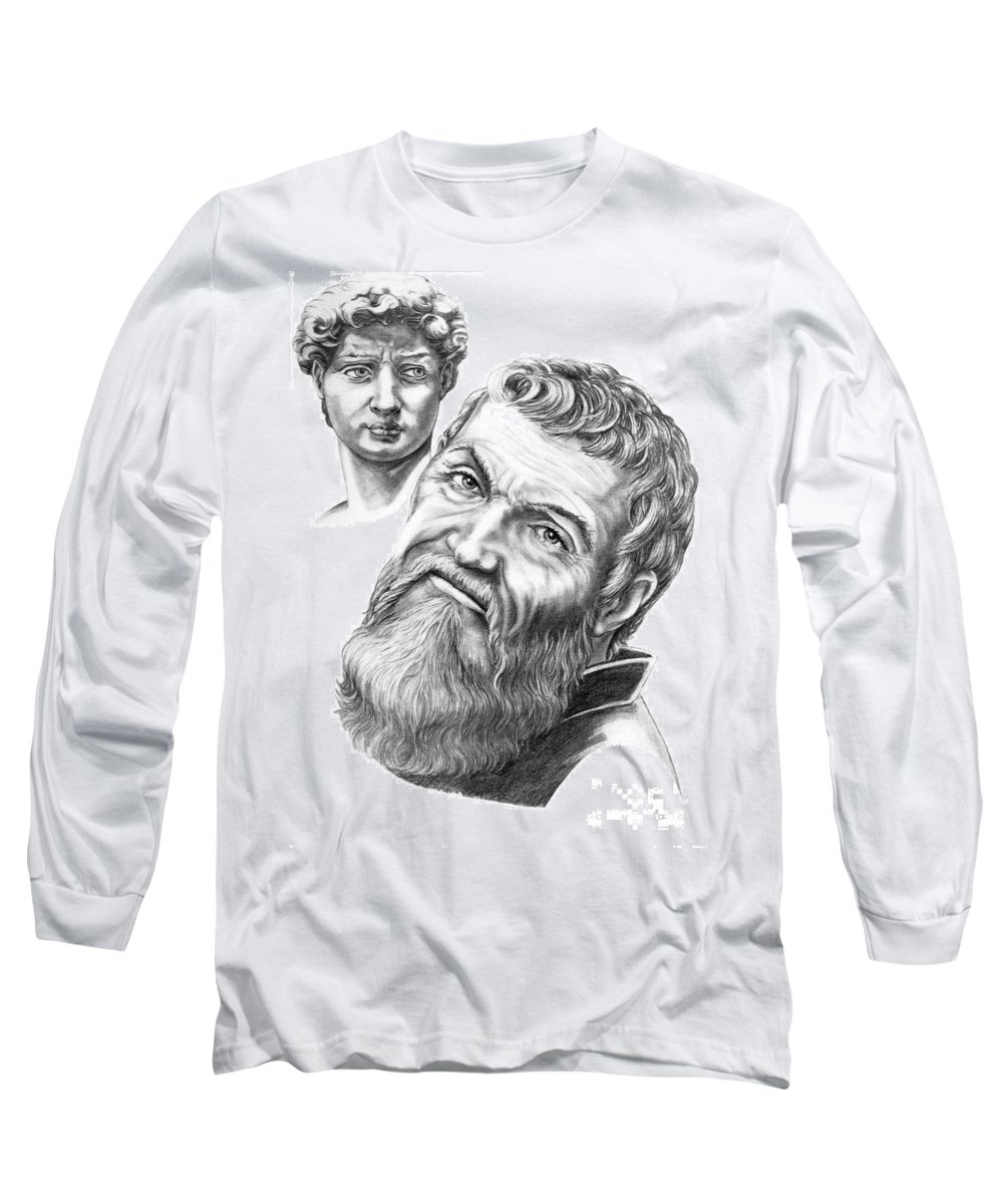Michelangelo Long Sleeve T-Shirt featuring the drawing Michelangelo And David by Murphy Elliott