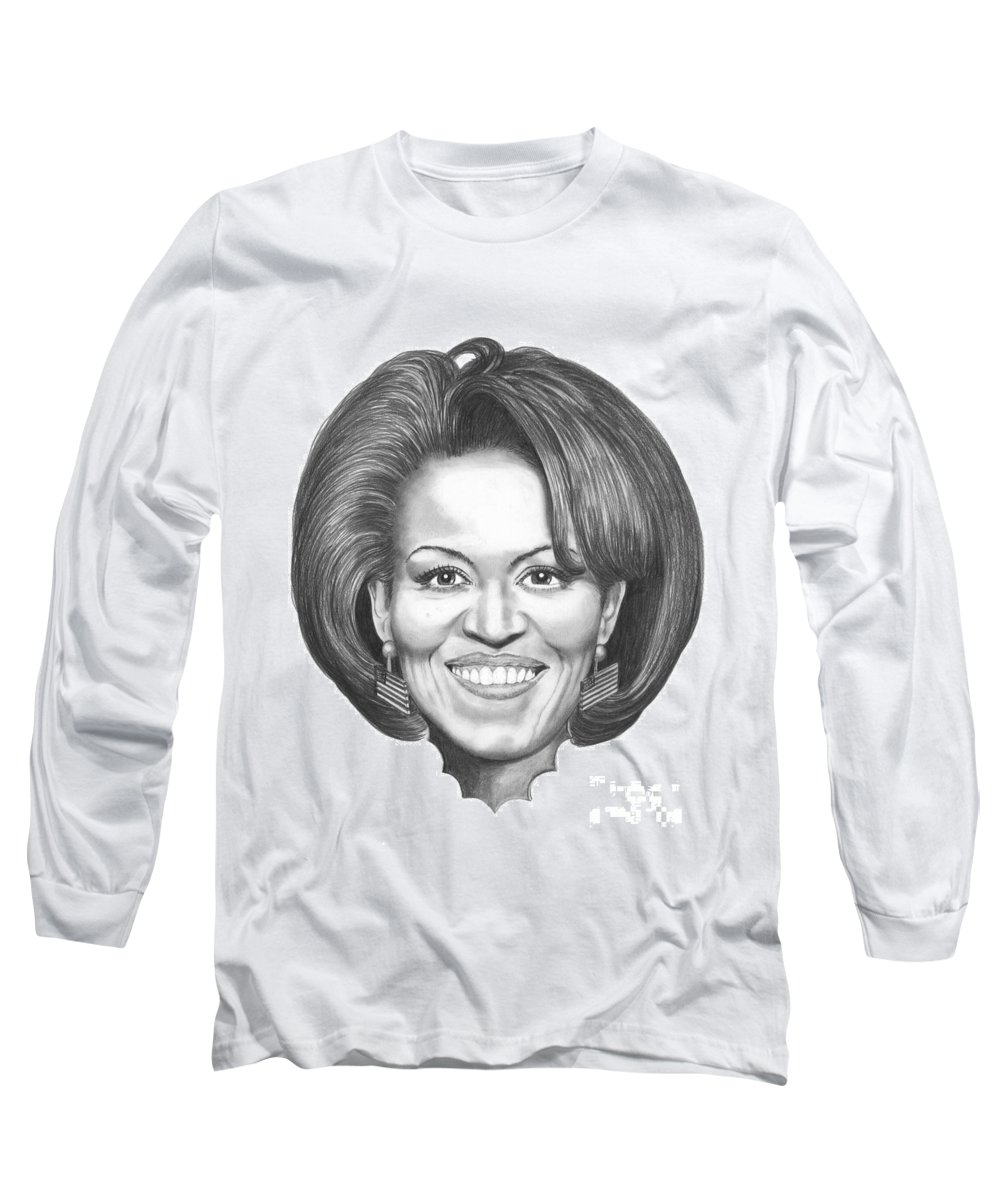 Drawing Long Sleeve T-Shirt featuring the drawing Michelle Obama by Murphy Elliott