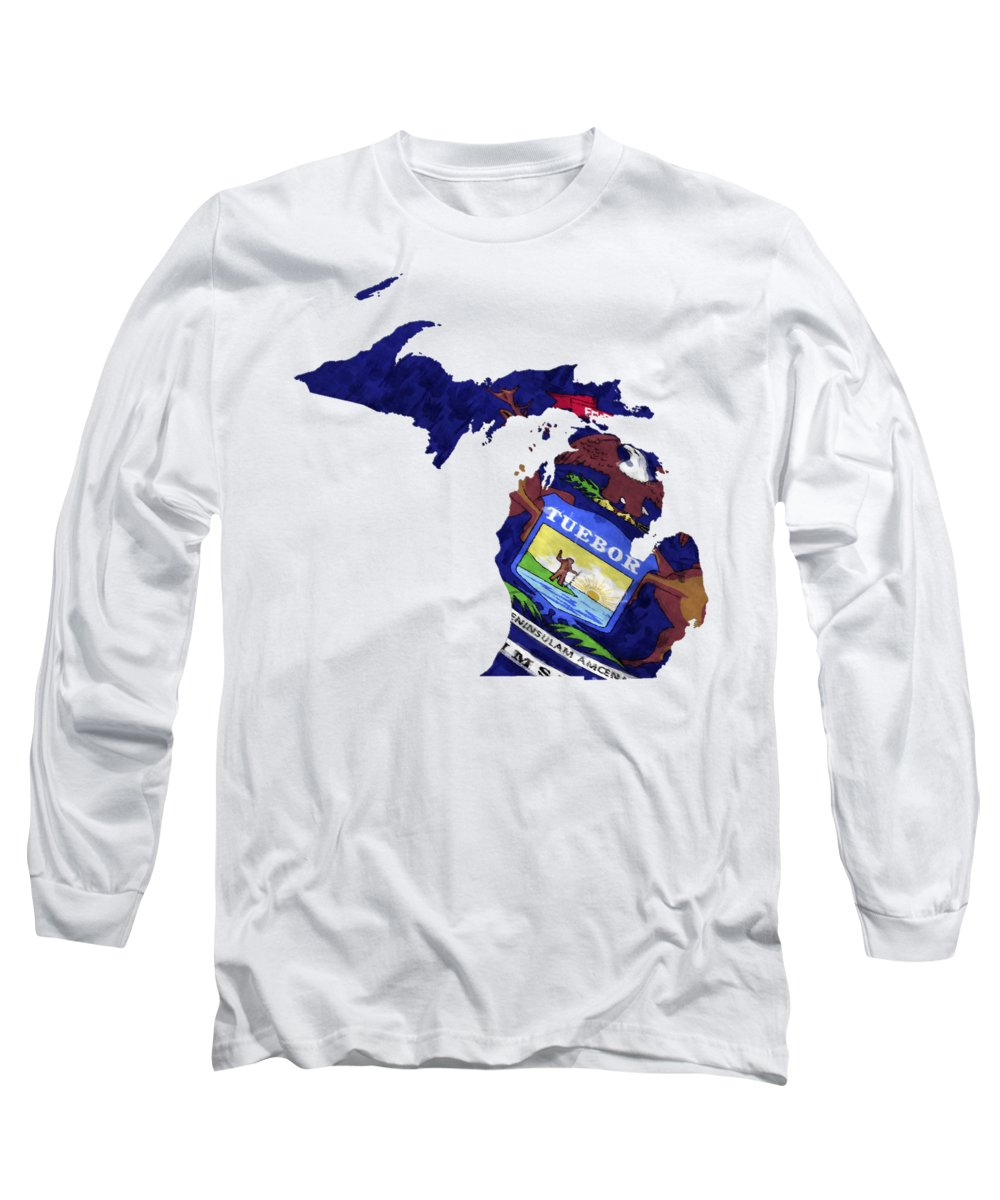 America Long Sleeve T-Shirt featuring the digital art Michigan Map Art With Flag Design by World Art Prints And Designs