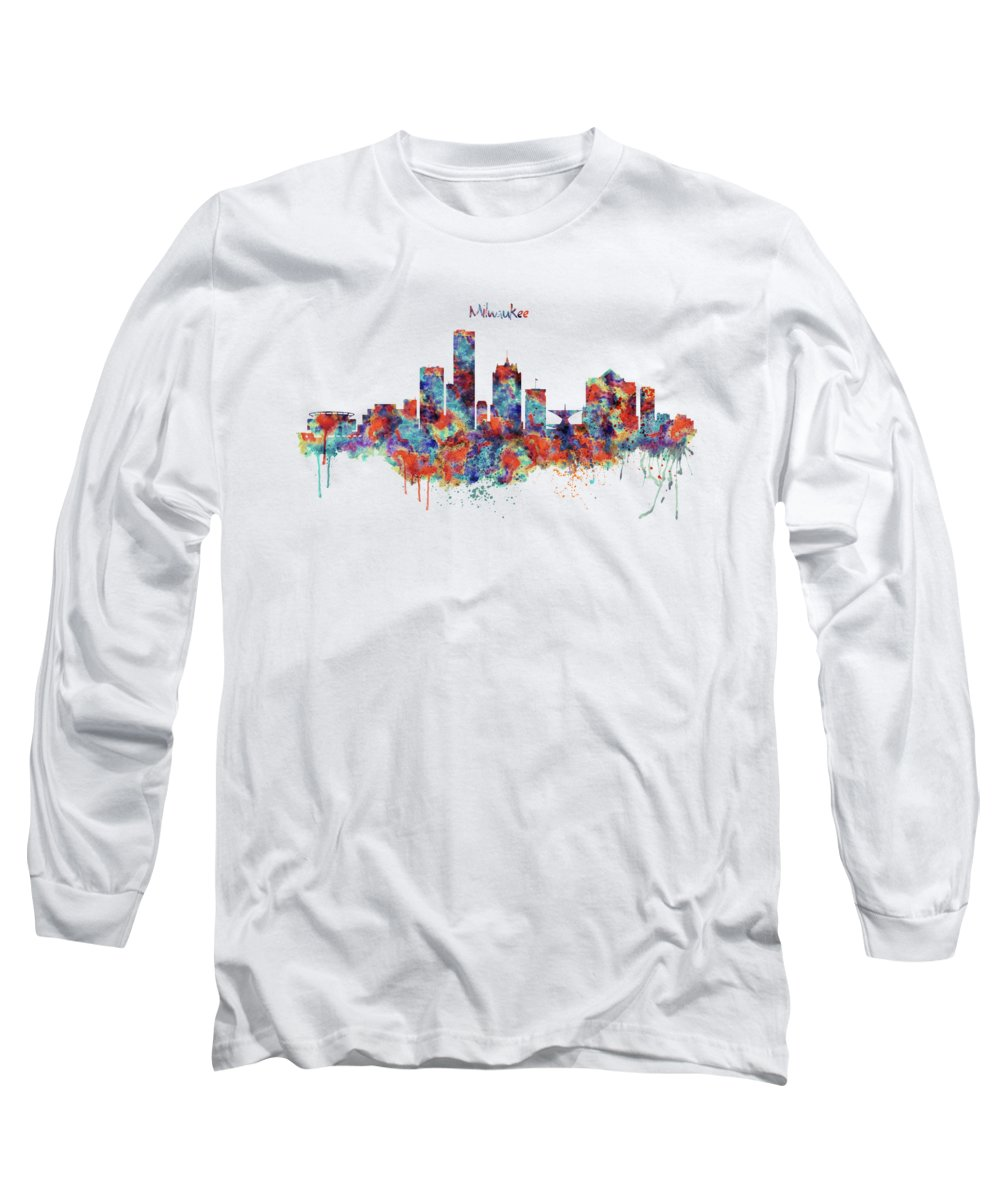 Milwaukee Long Sleeve T-Shirt featuring the mixed media Milwaukee Watercolor Skyline by Marian Voicu