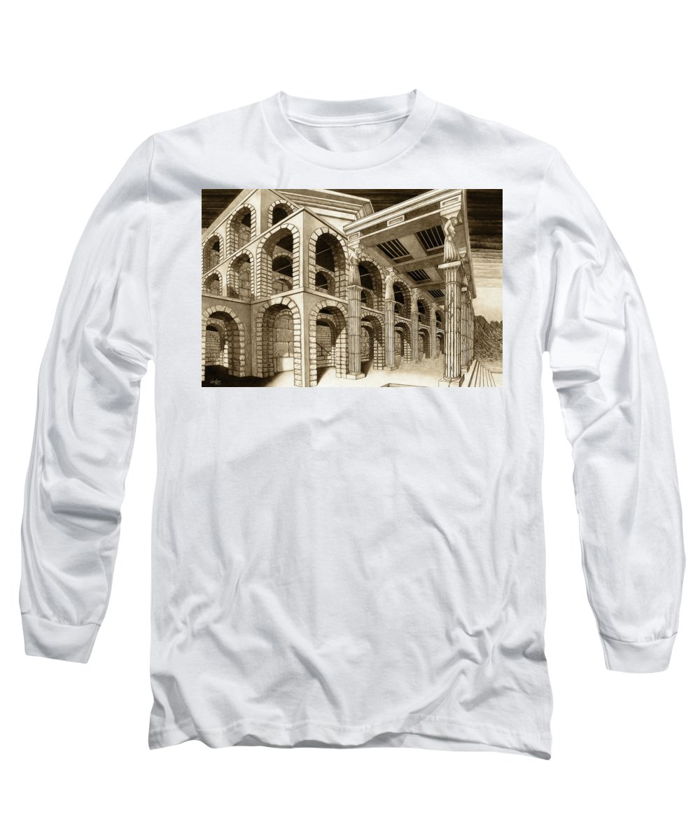 Mithlond Long Sleeve T-Shirt featuring the drawing Mithlond Gray Havens by Curtiss Shaffer