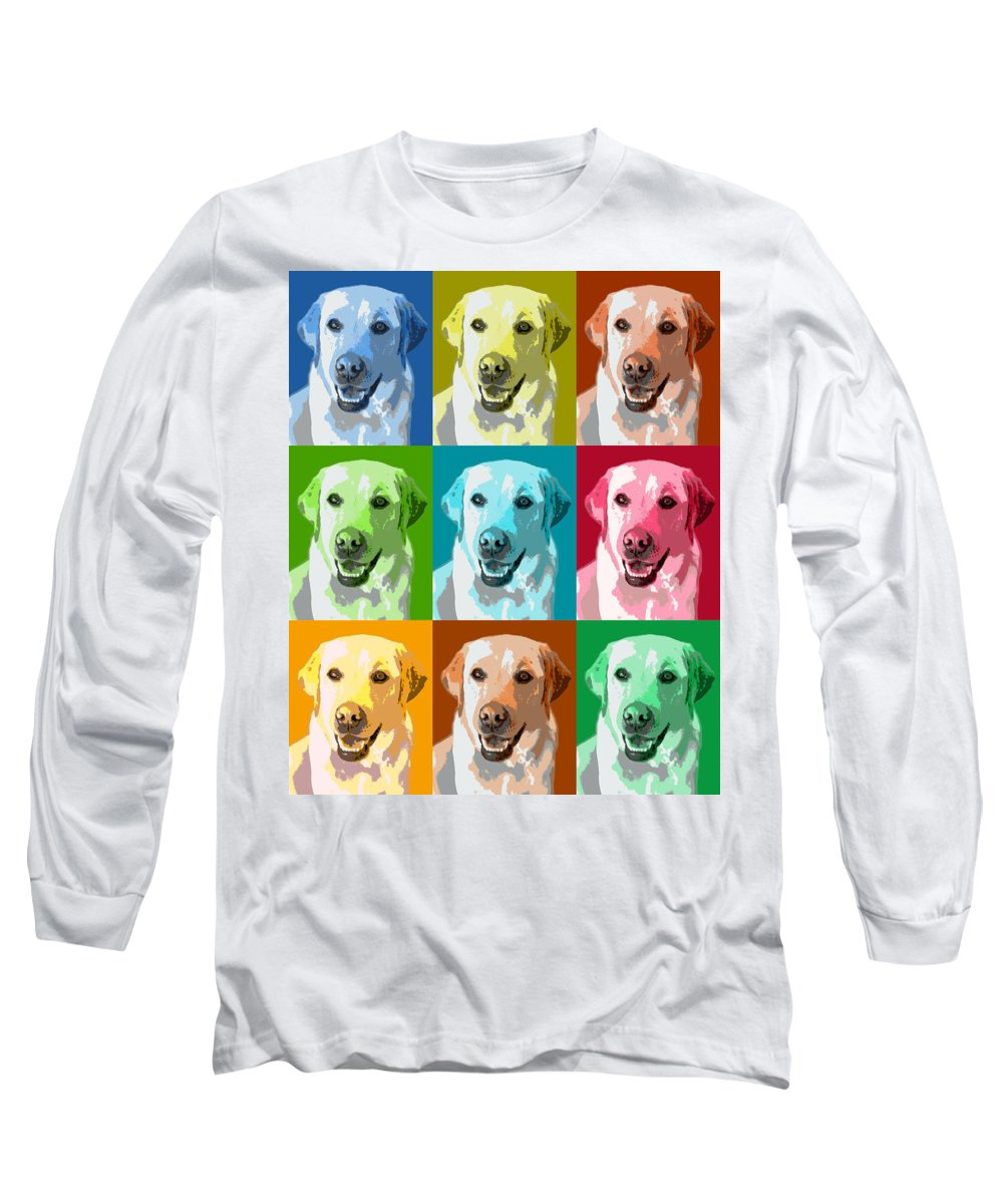 Americana Long Sleeve T-Shirt featuring the photograph Golden Retriever Warhol by Marilyn Hunt