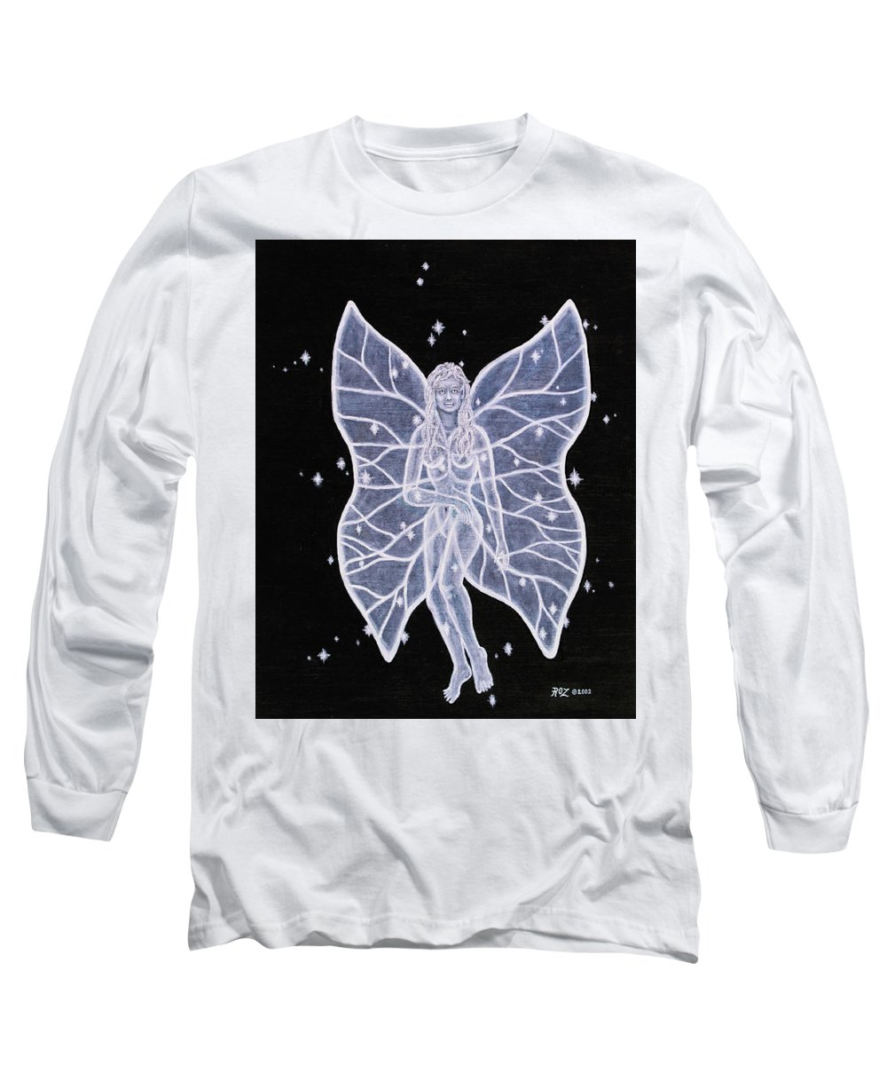 Fairy Long Sleeve T-Shirt featuring the painting Moon Fairy by Roz Eve