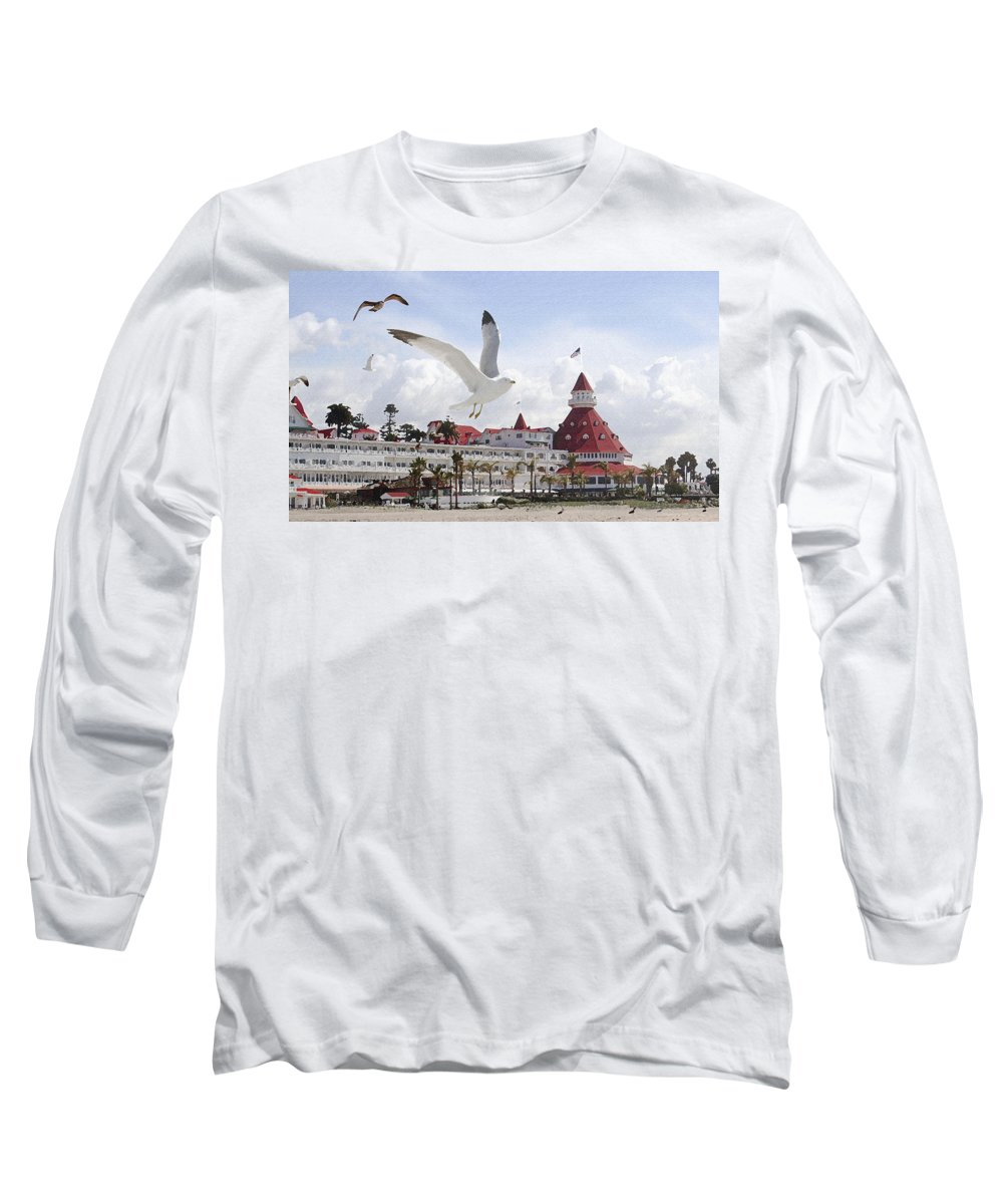 Beach Long Sleeve T-Shirt featuring the photograph Morning Gulls On Coronado by Margie Wildblood