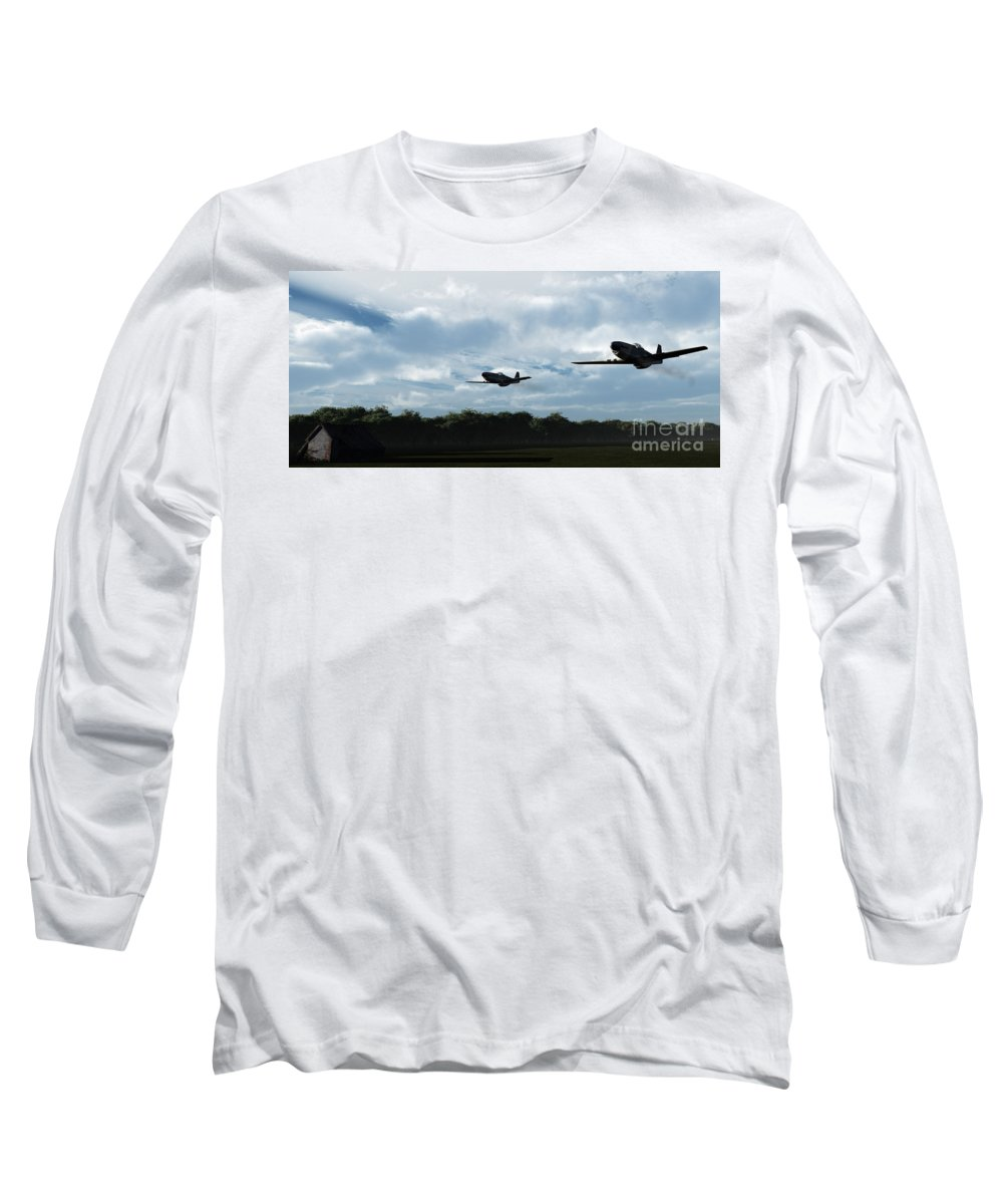 Aircraft Long Sleeve T-Shirt featuring the digital art Morning Run by Richard Rizzo