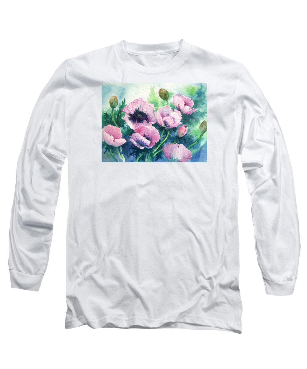 Poppies;floral;flowers;pink;garden; Long Sleeve T-Shirt featuring the painting Mother's Prize Poppies by Lois Mountz