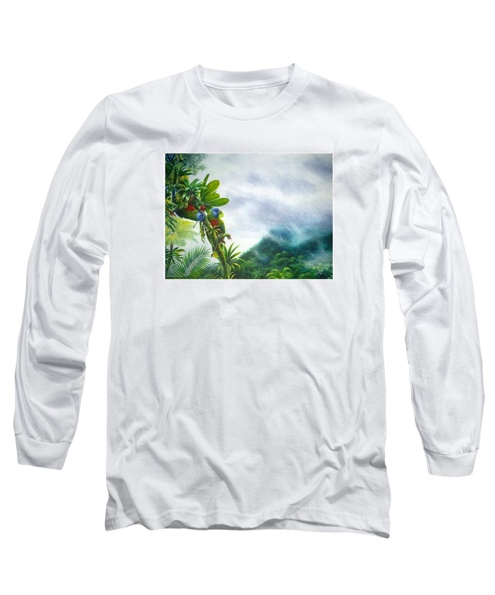 Chris Cox Long Sleeve T-Shirt featuring the painting Mountain High - St. Lucia Parrots by Christopher Cox