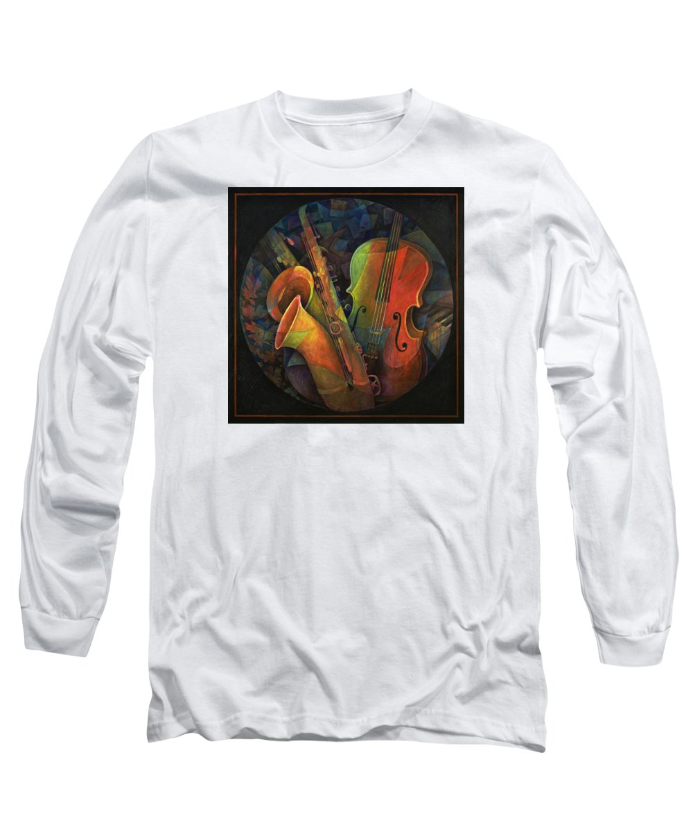 Susanne Clark Long Sleeve T-Shirt featuring the painting Musical Mandala - Features Cello And Sax's by Susanne Clark