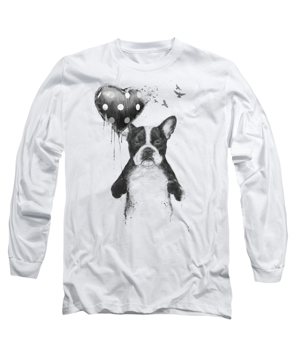 Bulldog Long Sleeve T-Shirt featuring the mixed media My heart goes boom by Balazs Solti