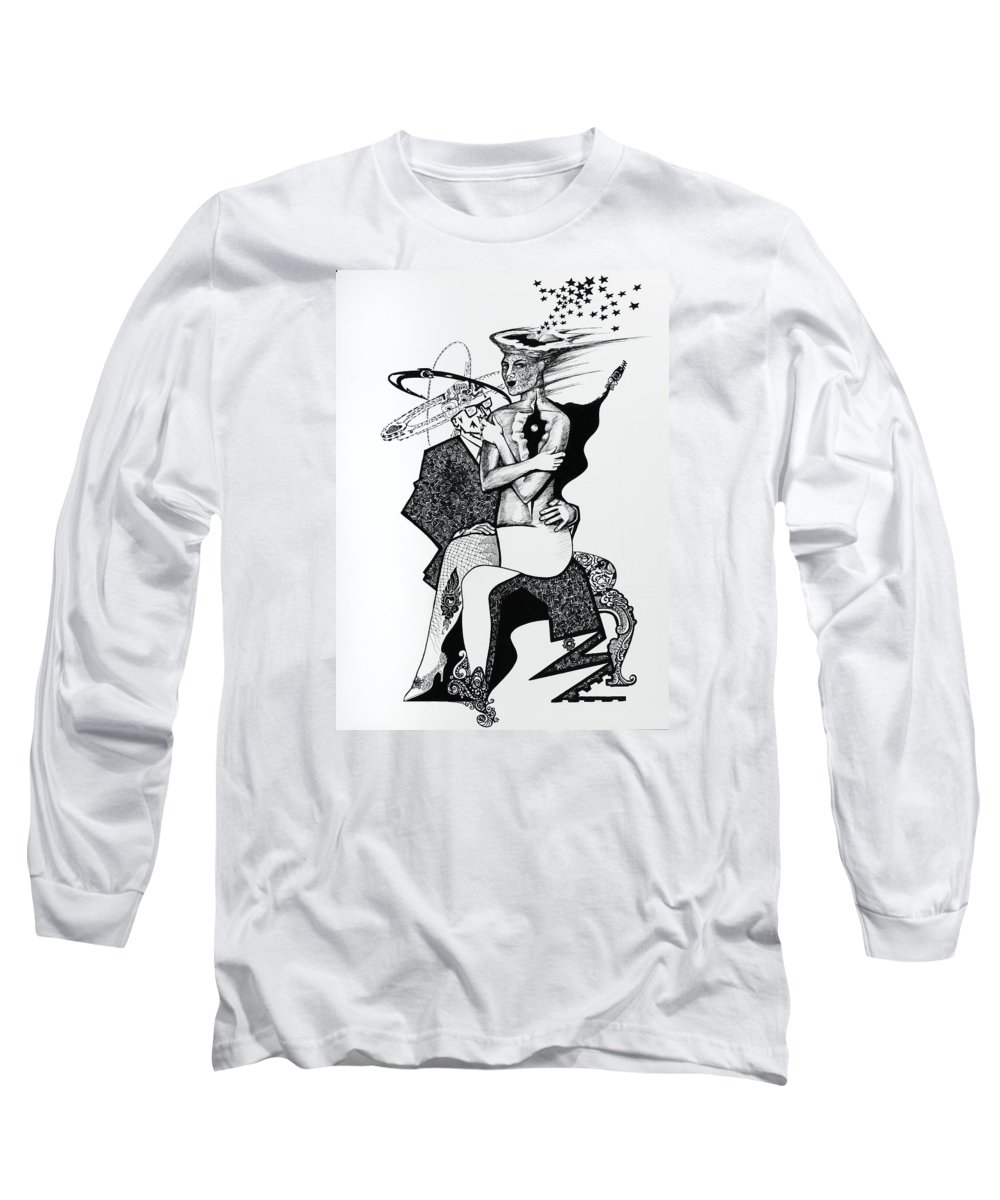 Love Long Sleeve T-Shirt featuring the drawing My Shadow And I by Yelena Tylkina