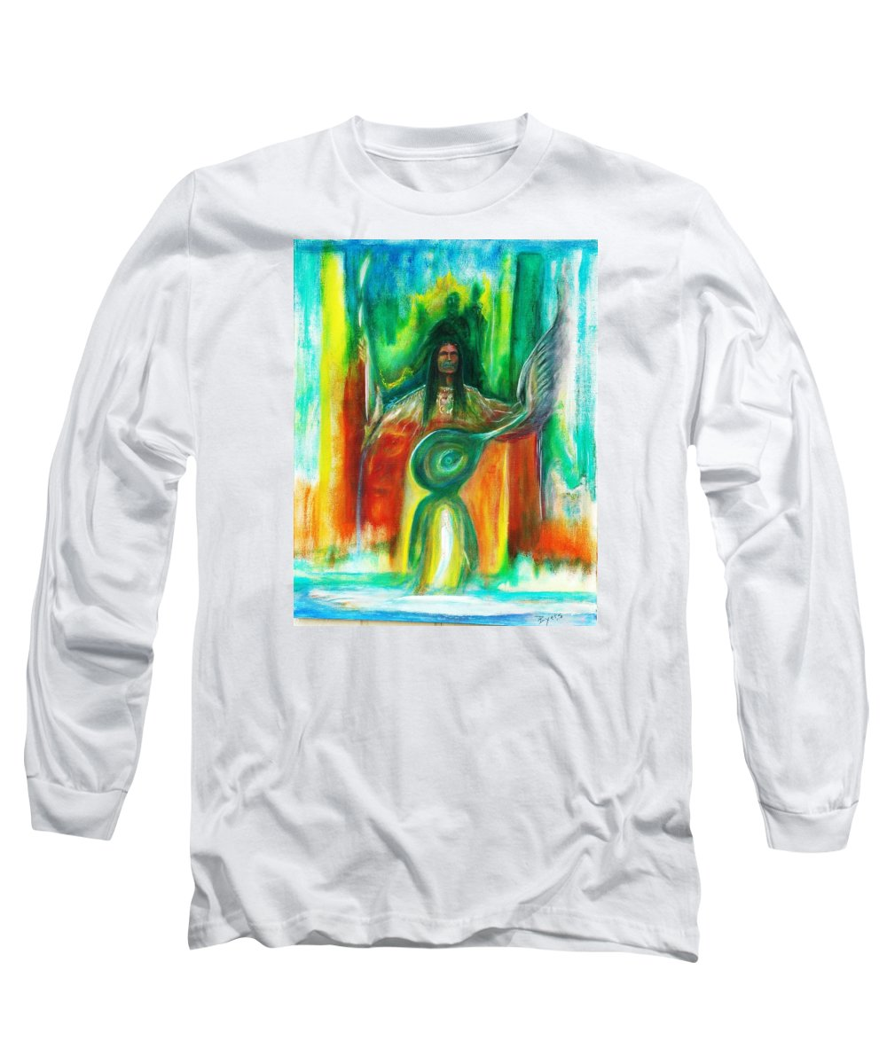 Native American Long Sleeve T-Shirt featuring the painting Native Awakenings by Kicking Bear Productions