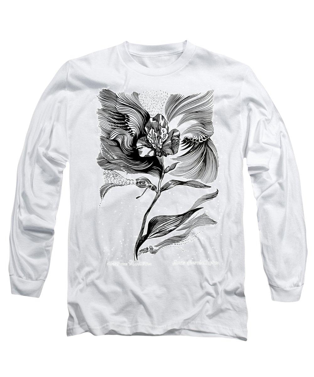 Inga Vereshchagina Long Sleeve T-Shirt featuring the drawing Nature's Waves by Inga Vereshchagina